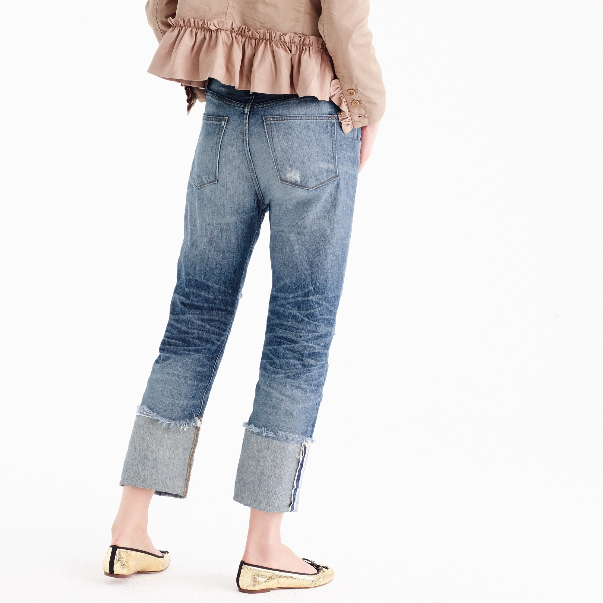 Image 4 for Point Sur distressed selvedge jean with long cuff