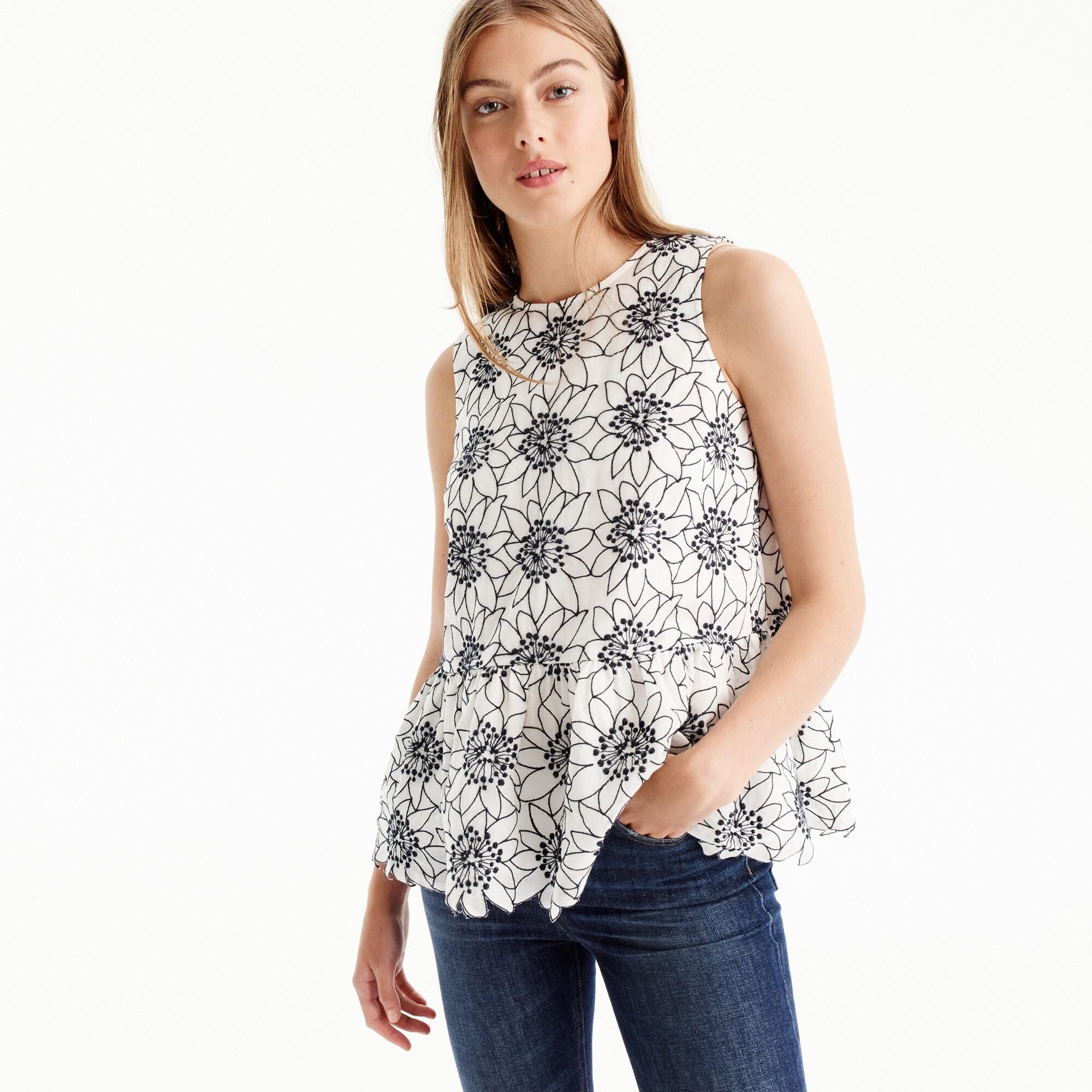 Petite embroidered floral top