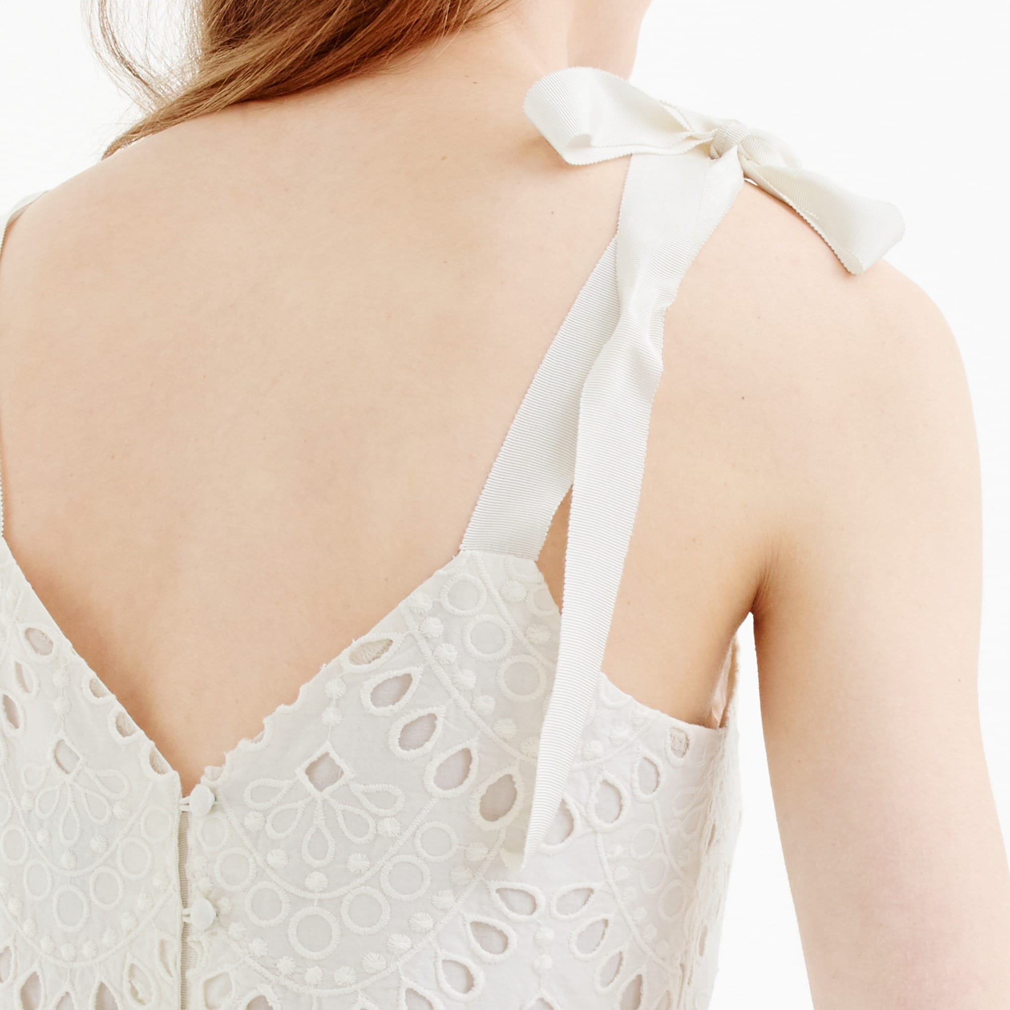 Tie-shoulder eyelet top