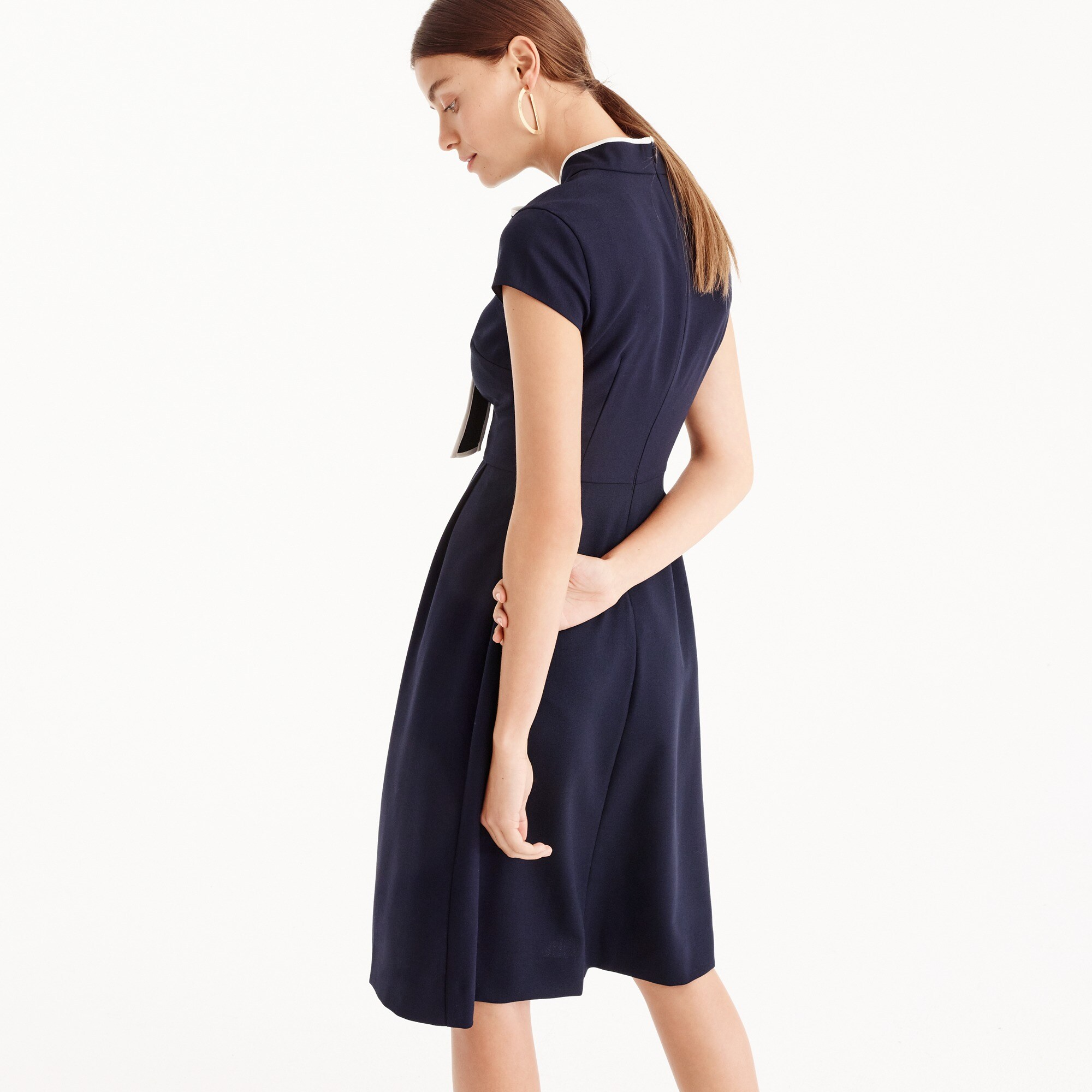 Tie-neck dress in Italian wool crepe