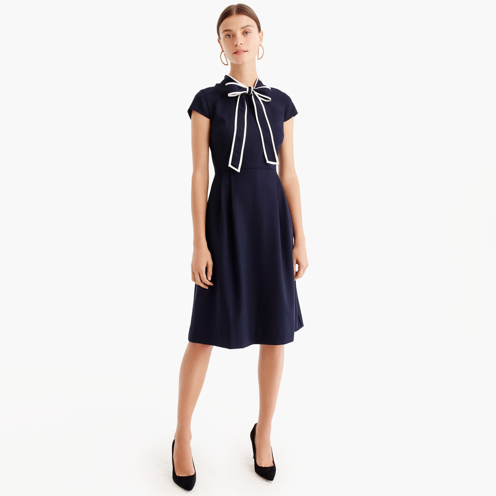 Petite tie-neck dress in Italian wool crepe women petite c