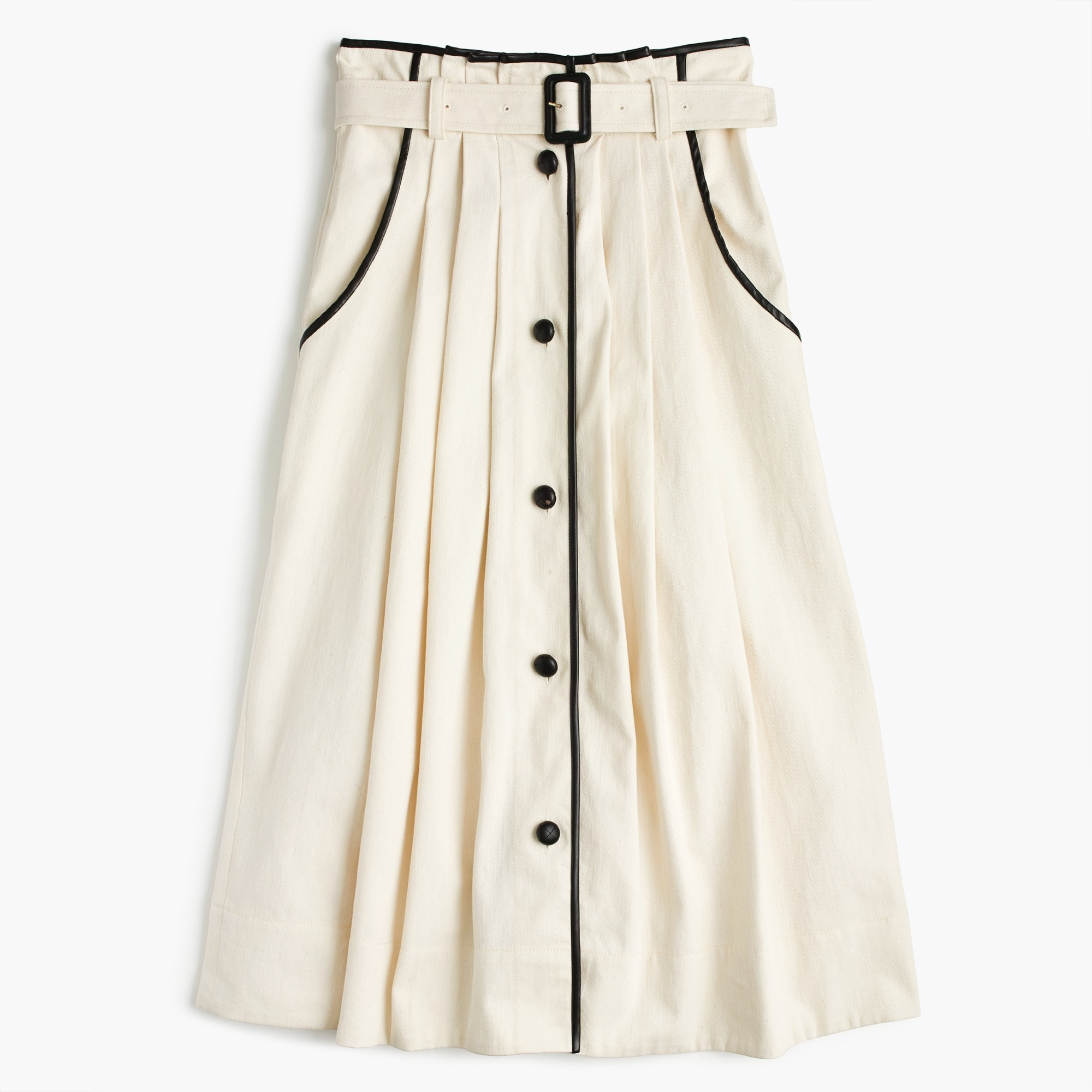 Image 2 for Collection pleated skirt in natural denim with leather