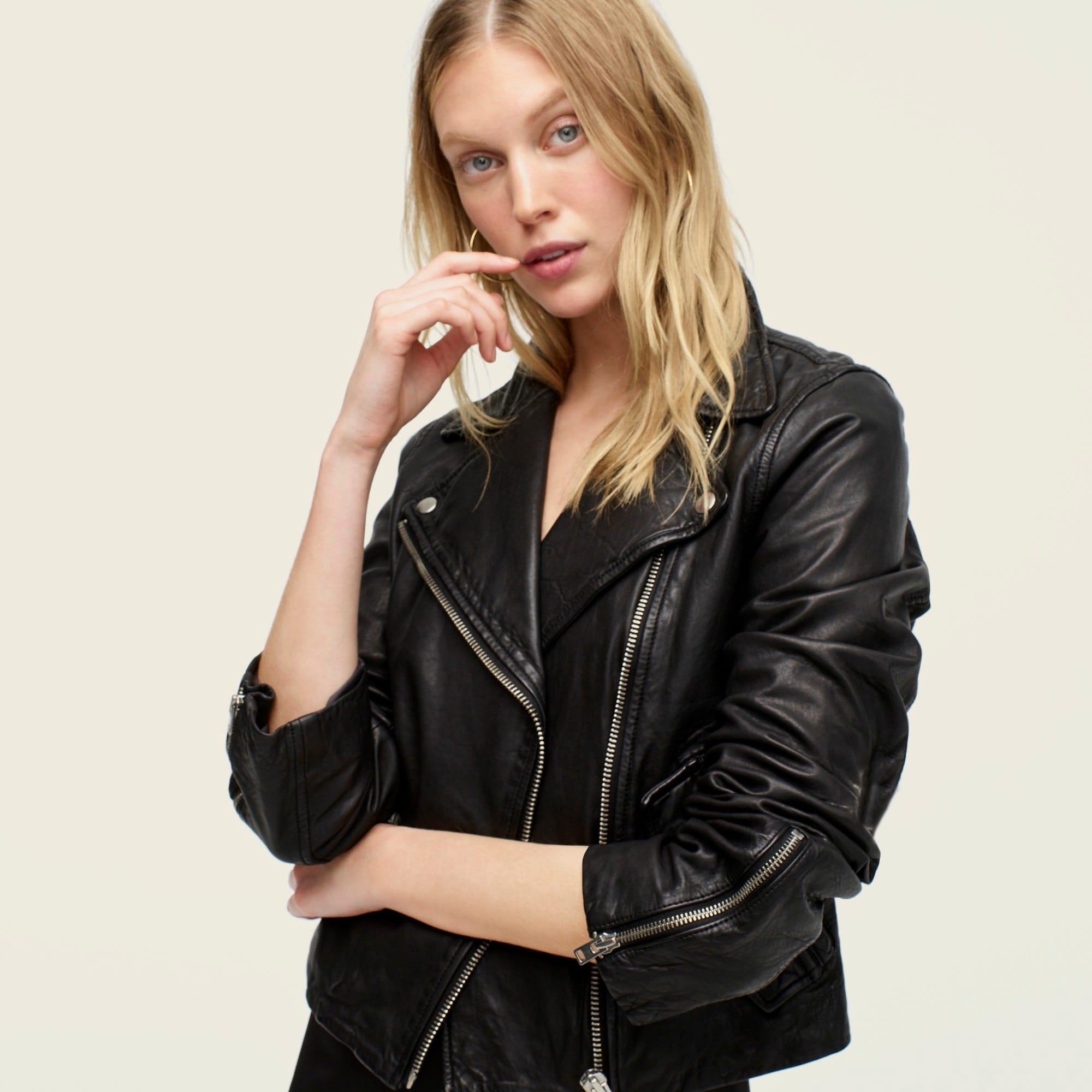 Collection washed leather motorcycle jacket women coats & jackets c
