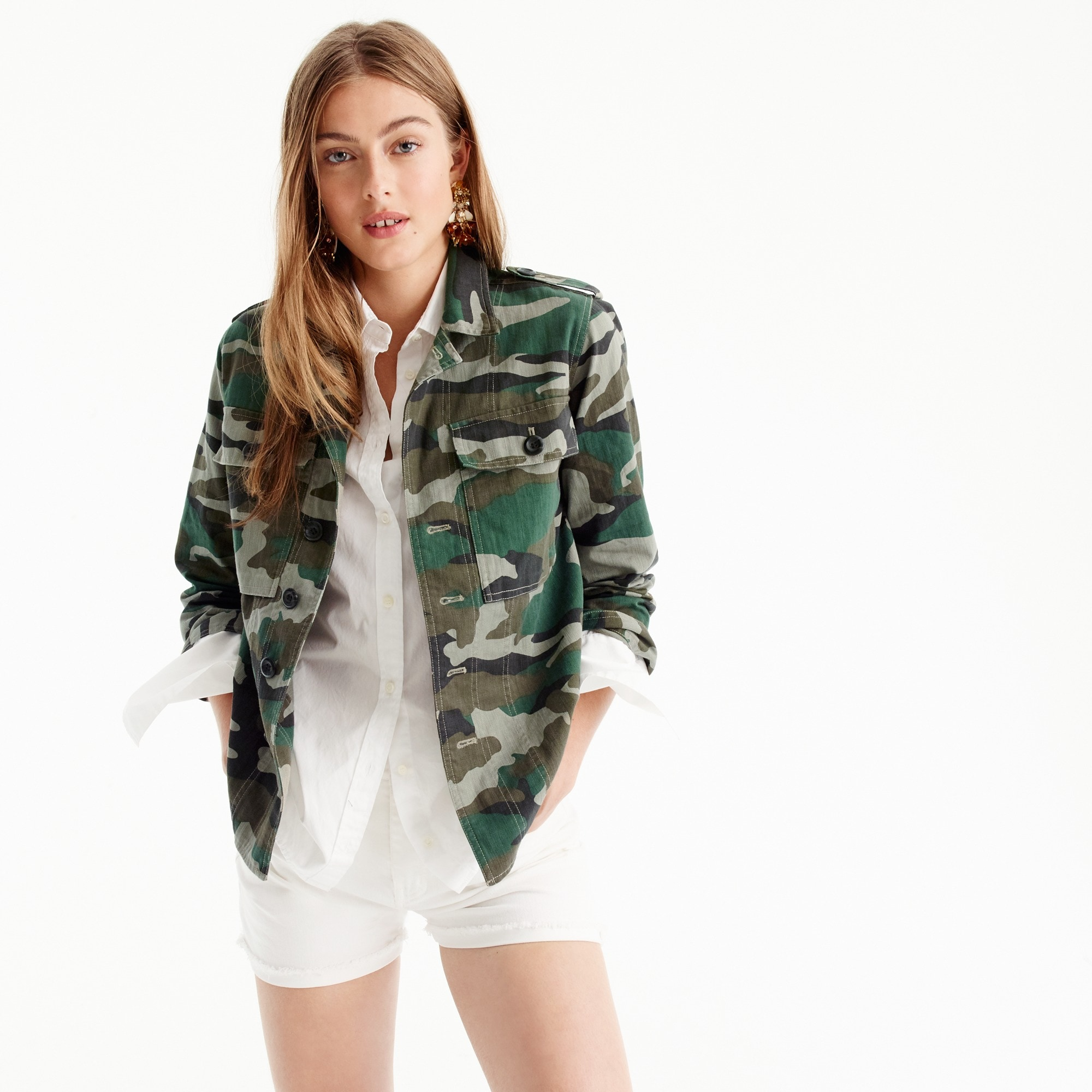 camouflage utility shirt-jacket : women button-ups