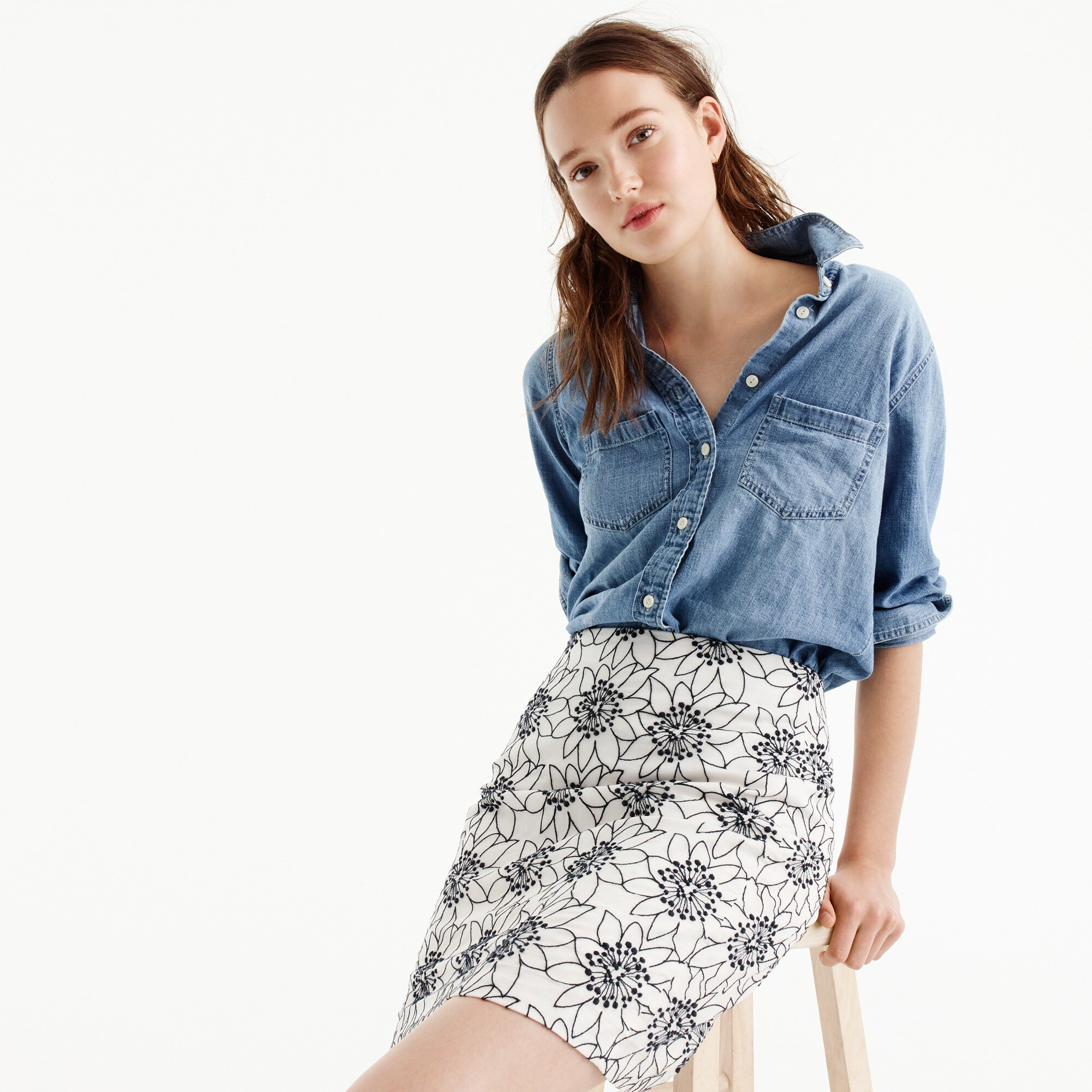 petite embroidered floral mini skirt : women mini