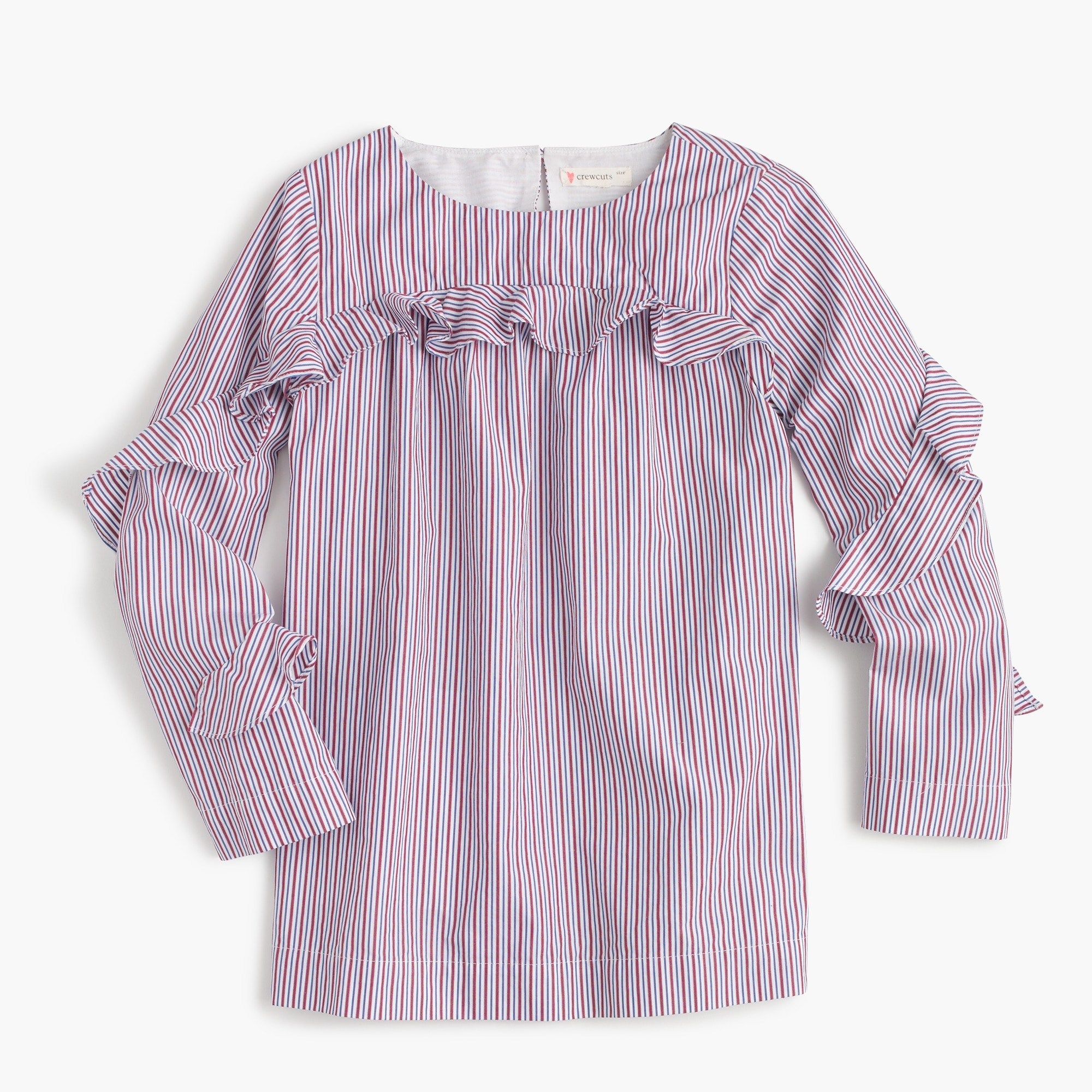 Girls' ruffle long-sleeve top in stripes