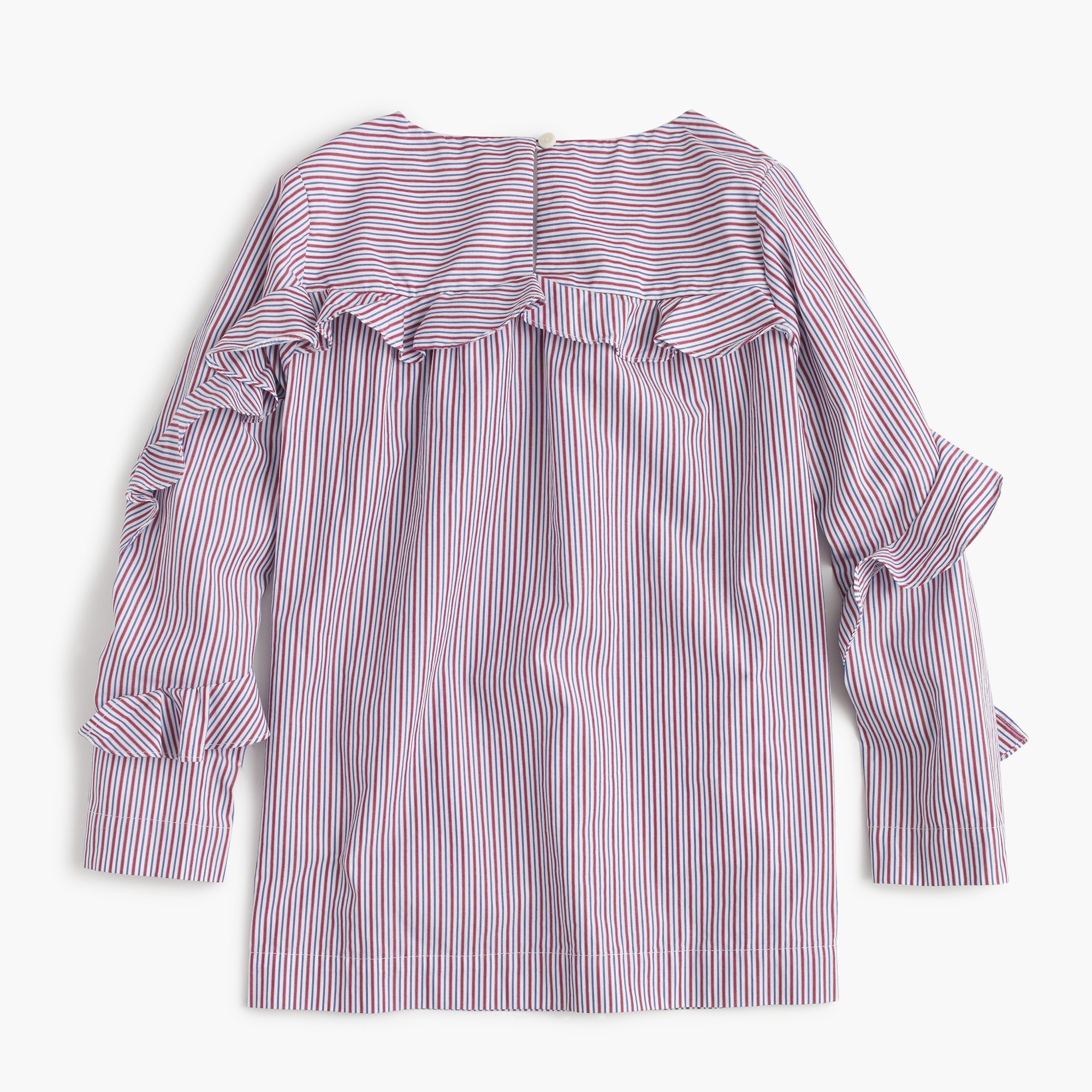 Image 2 for Girls' ruffle long-sleeve top in stripes