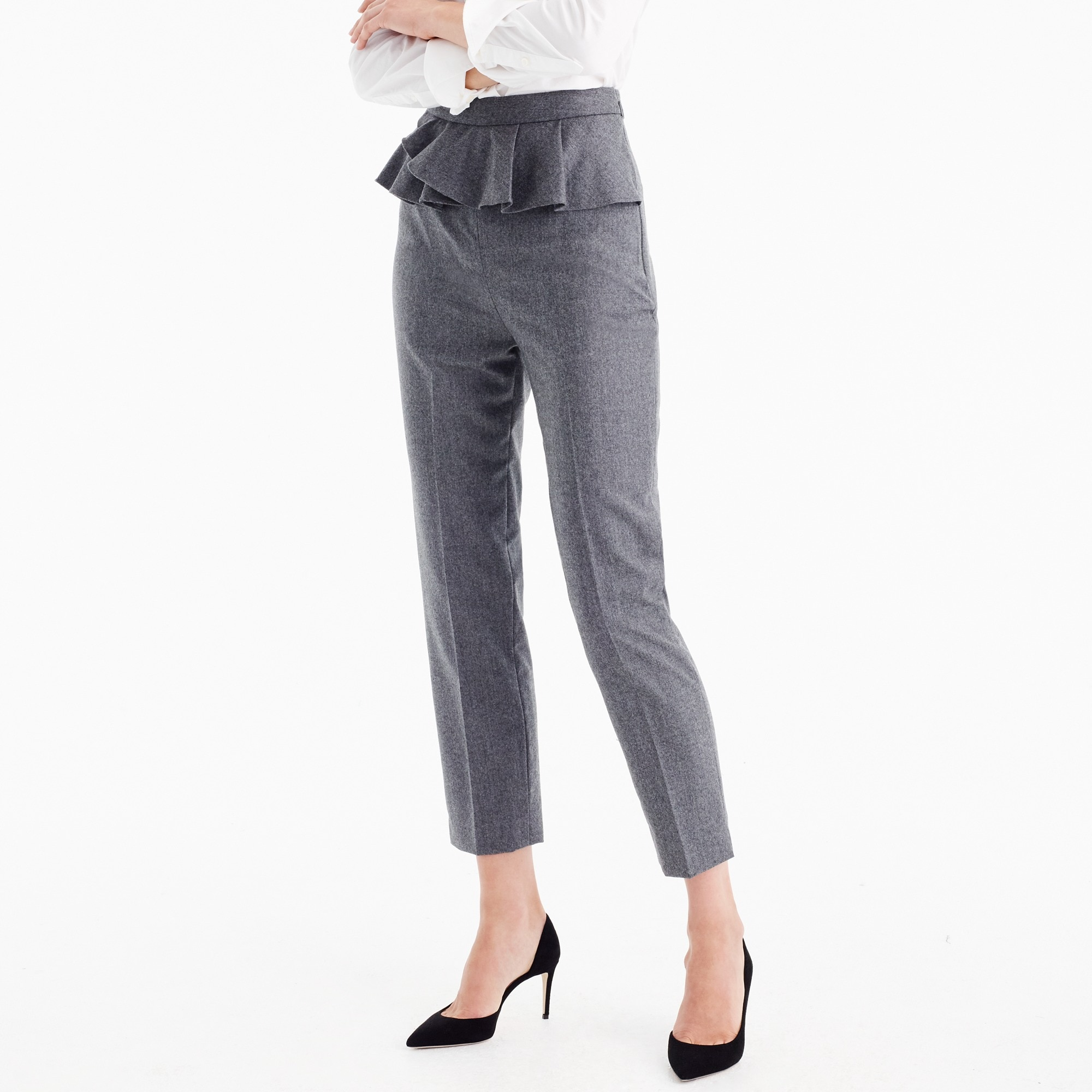 Slim trouser with ruffle waist in wool flannel