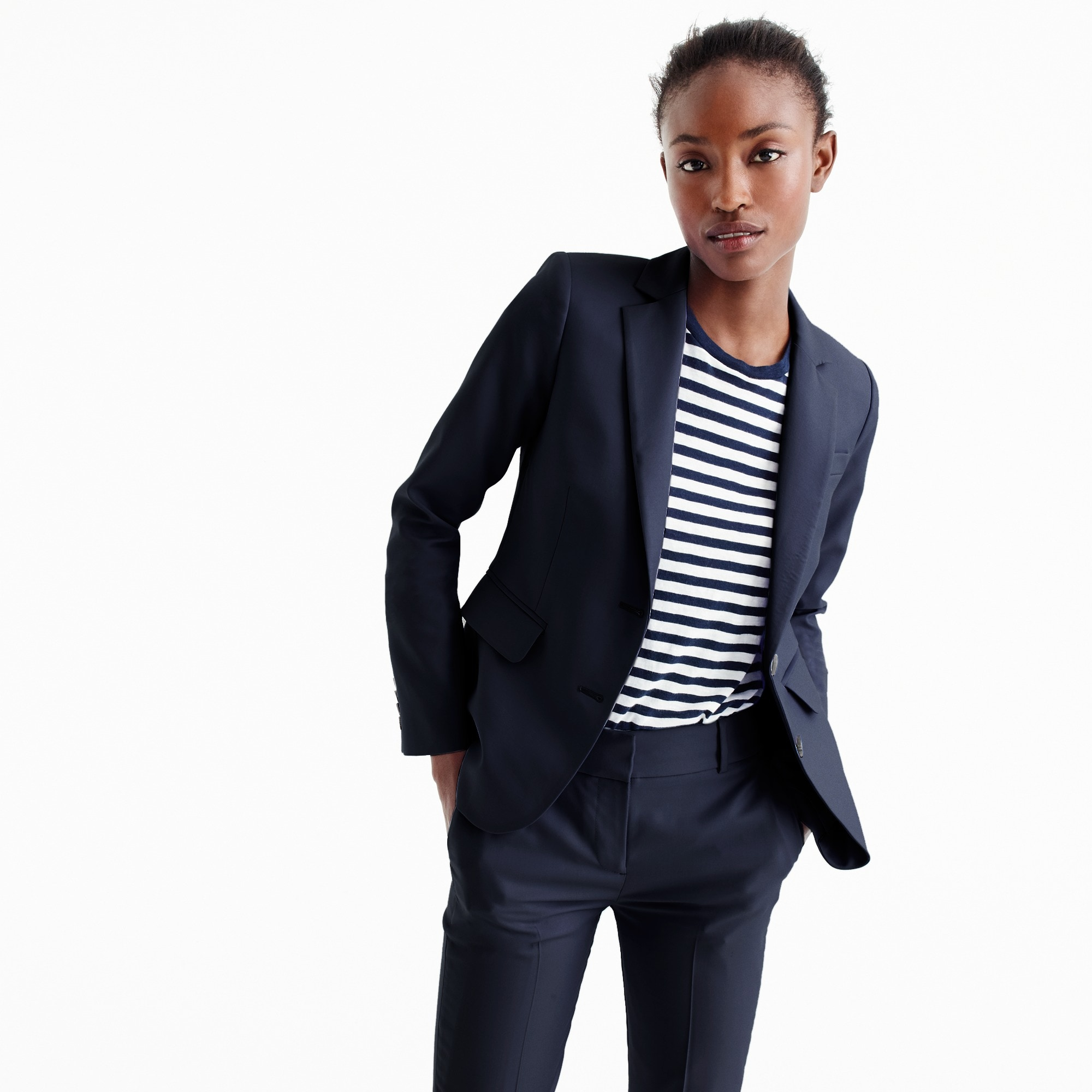 tailored blazer in italian super 120s wool : women suiting