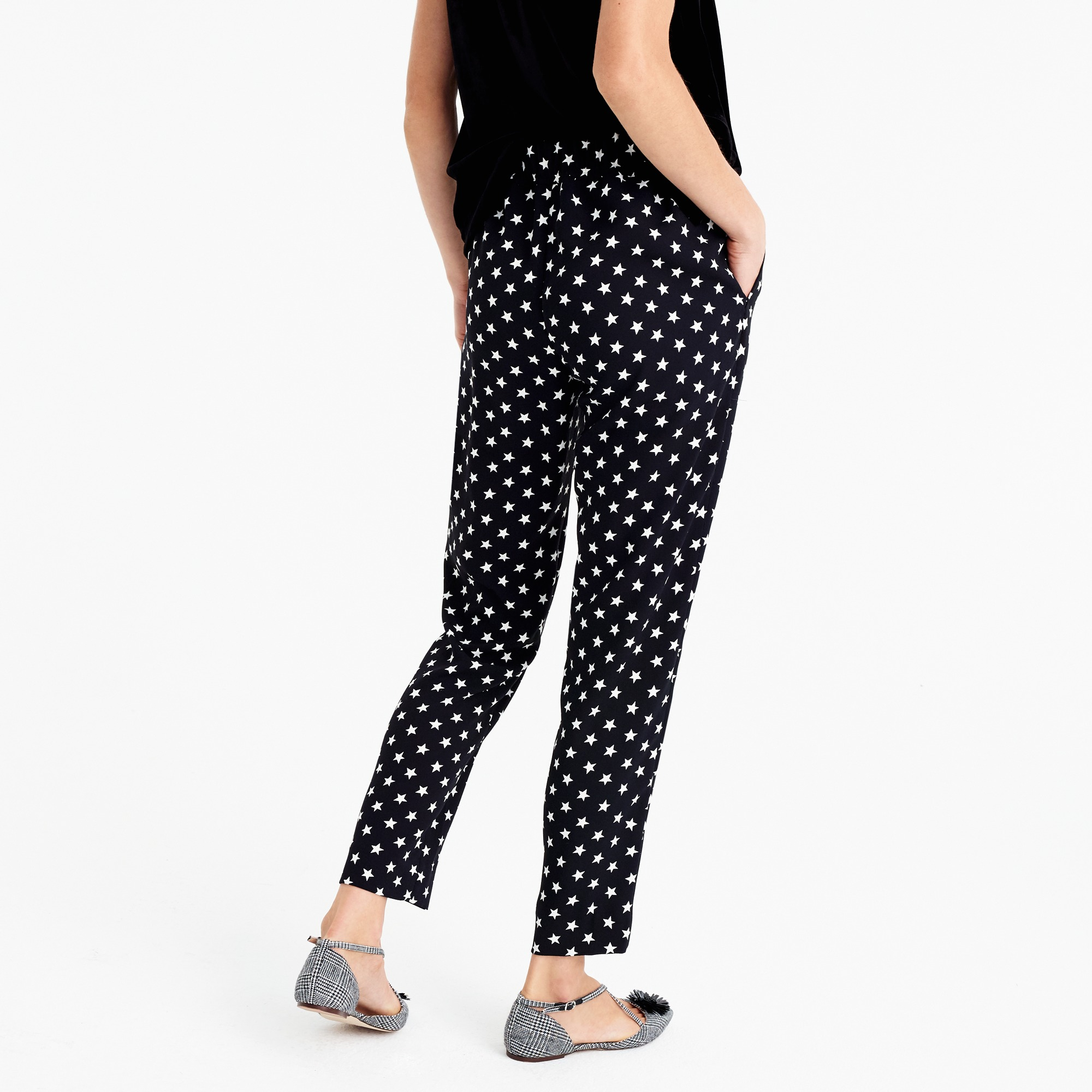Tall tie-waist pant in star-printed crepe
