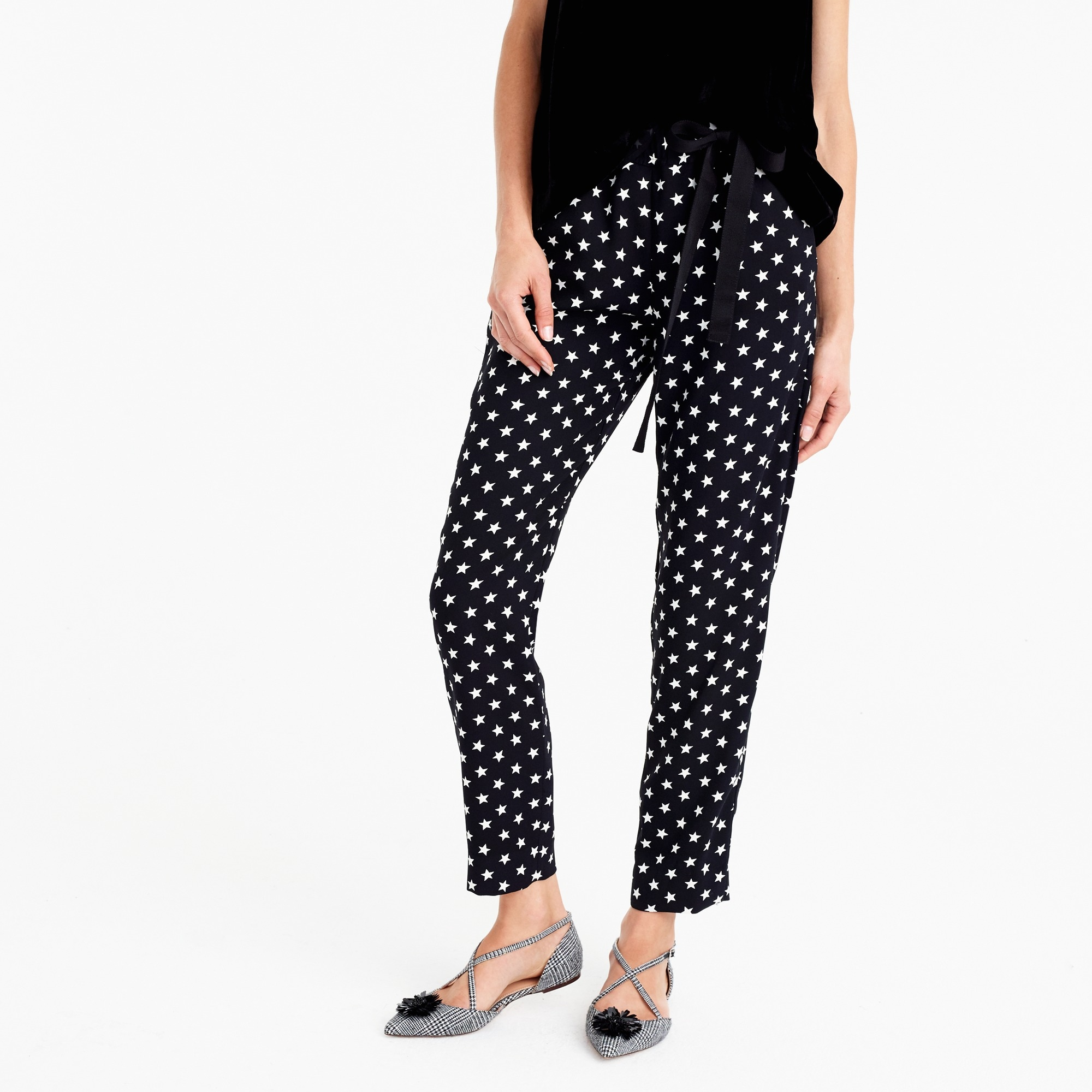 Image 1 for Tie-waist pant in star-printed crepe