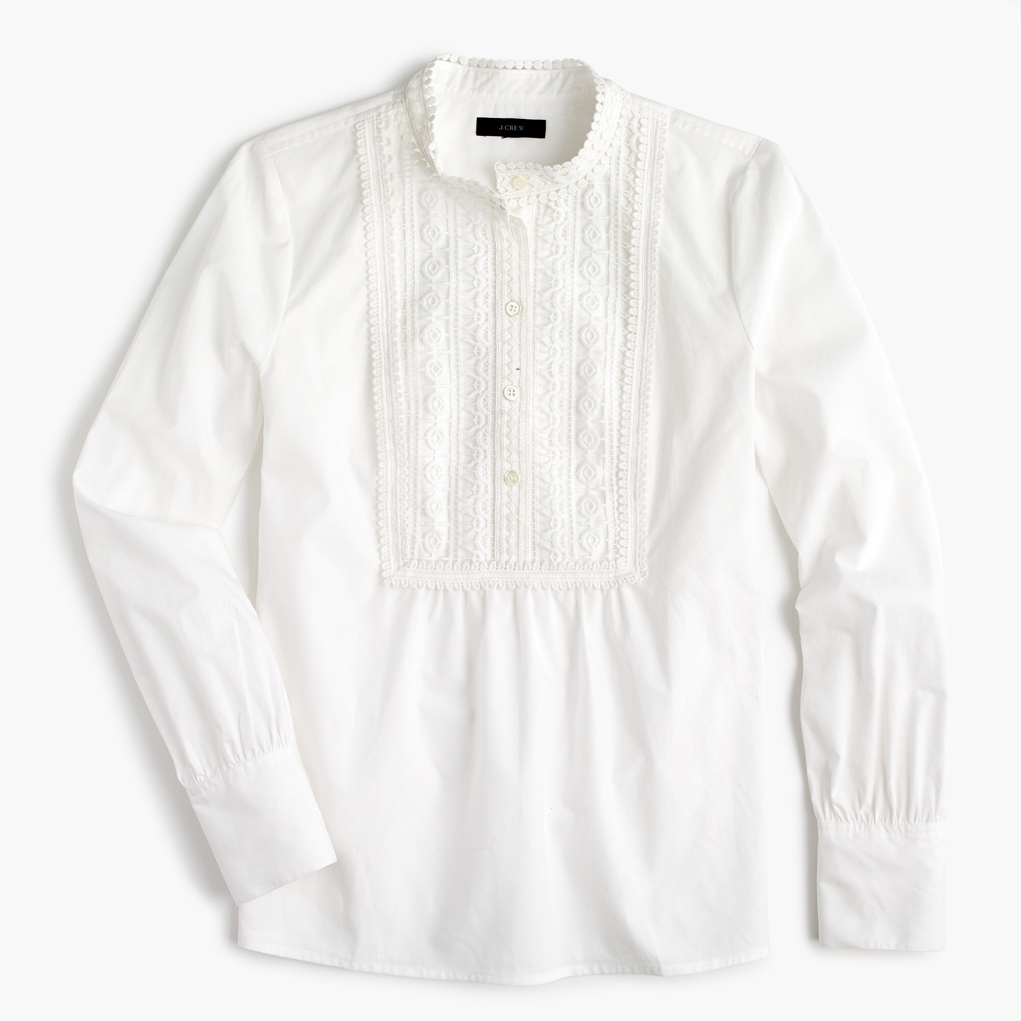 Image 2 for Petite Popover shirt with lace bib