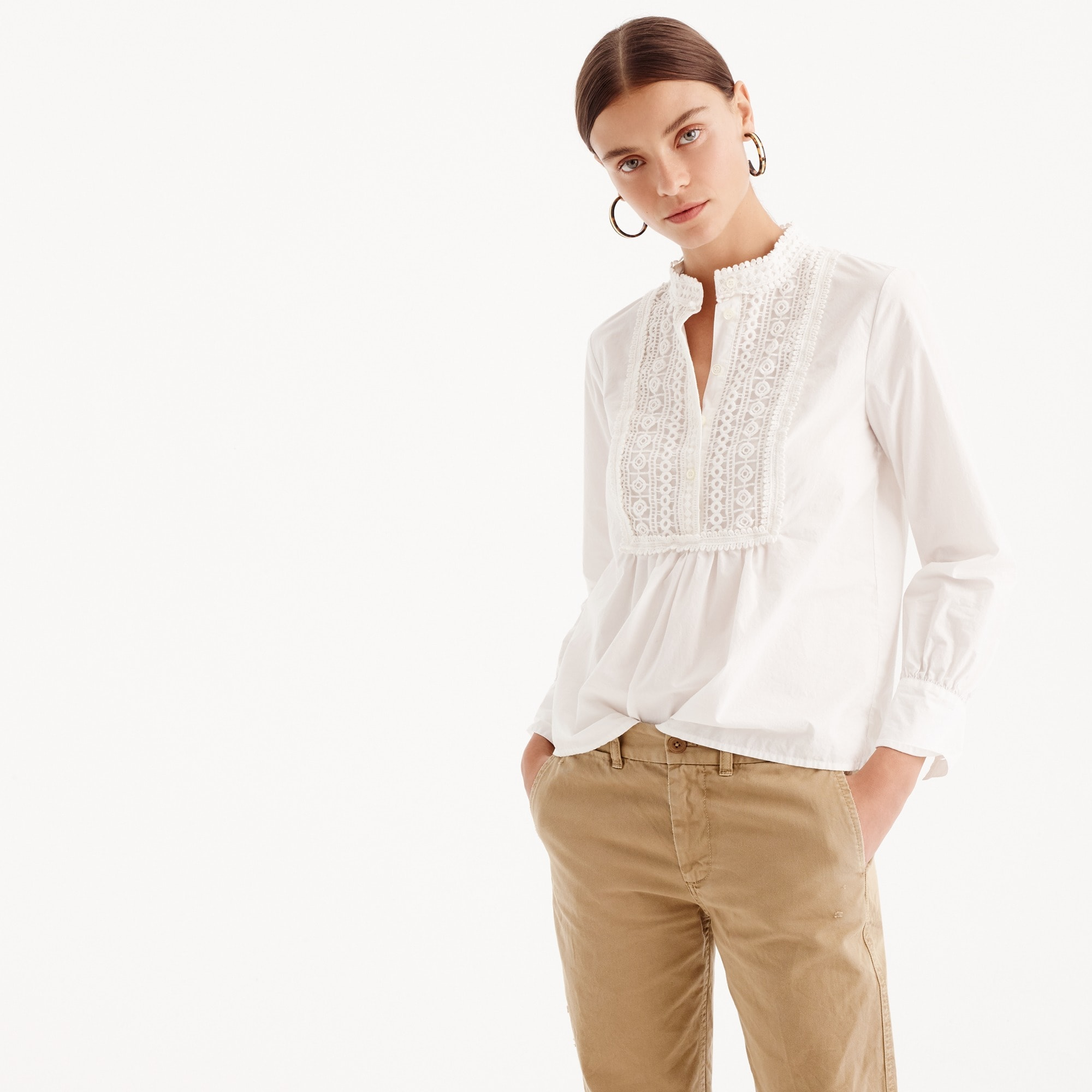 petite popover shirt with lace bib : women button-ups