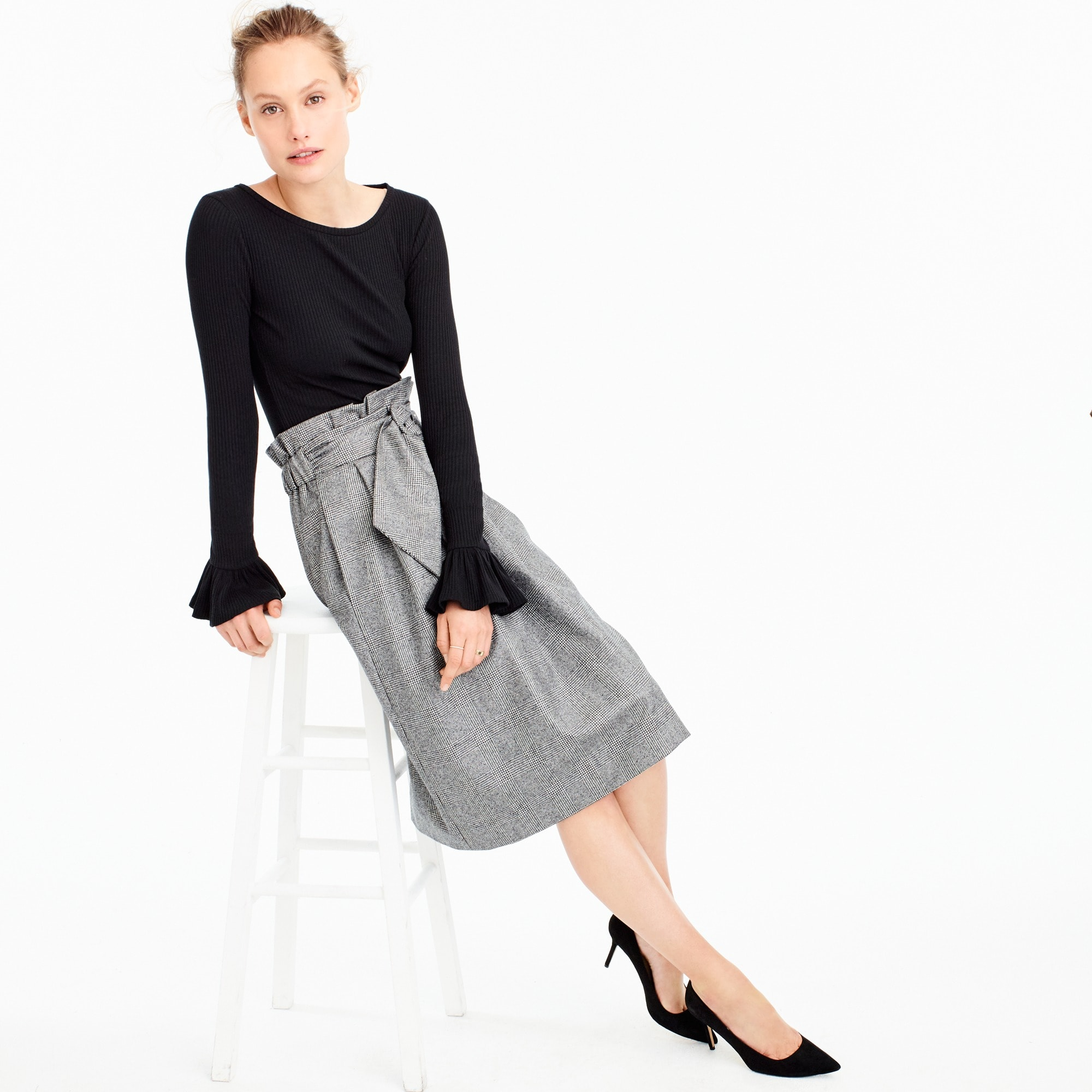 collection paper-bag waist skirt in english flannel : women j.crew collection