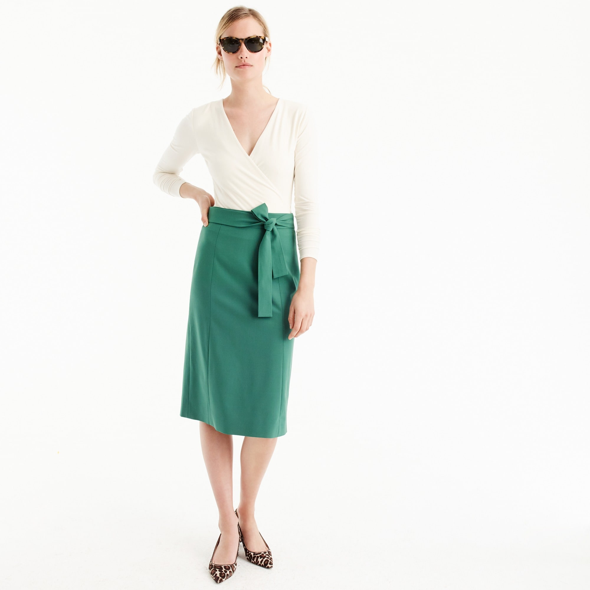 Tie waist skirt in Italian stretch wool