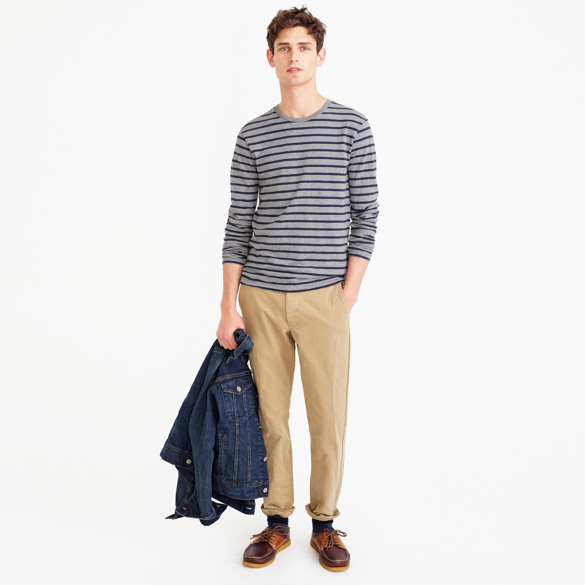 Tall long-sleeve T-shirt in nautical stripe