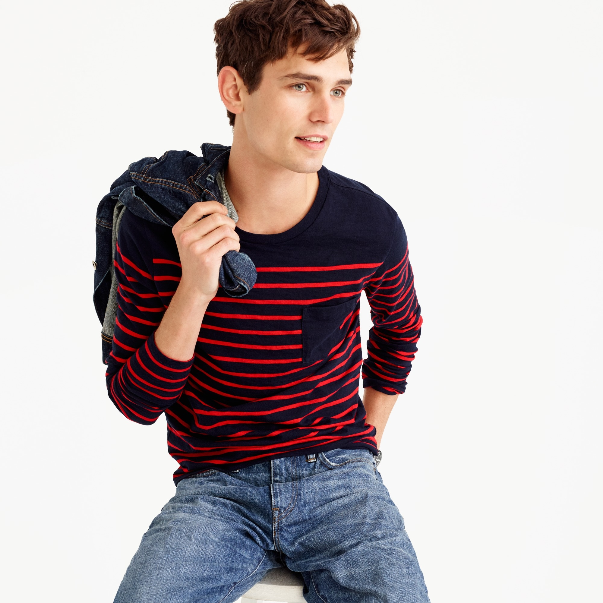 Long-sleeve T-shirt in fine stripe
