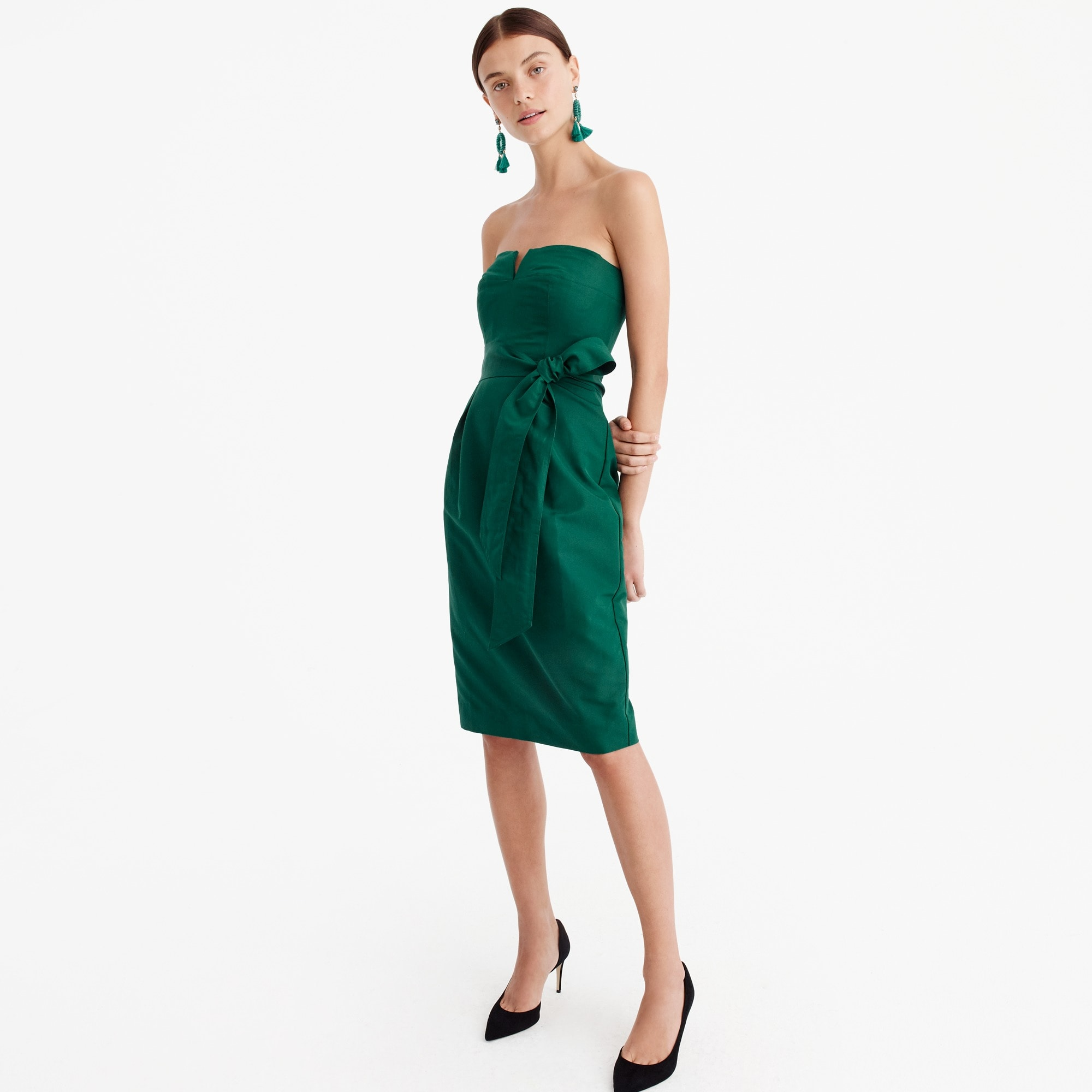 tie-waist strapless dress in faille : women ready-to-party collection