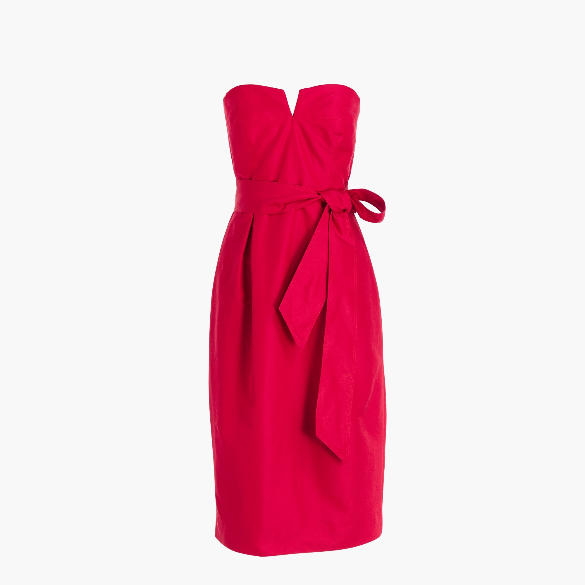 Petite tie-waist strapless dress in faille