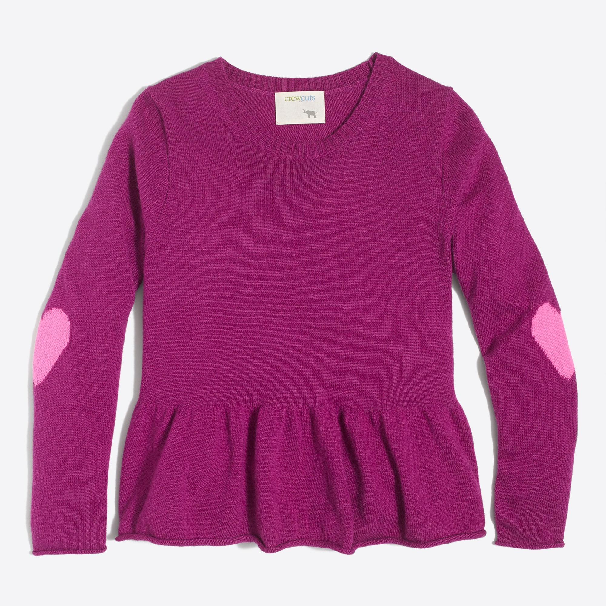 Girls' heart elbow patch peplum sweater