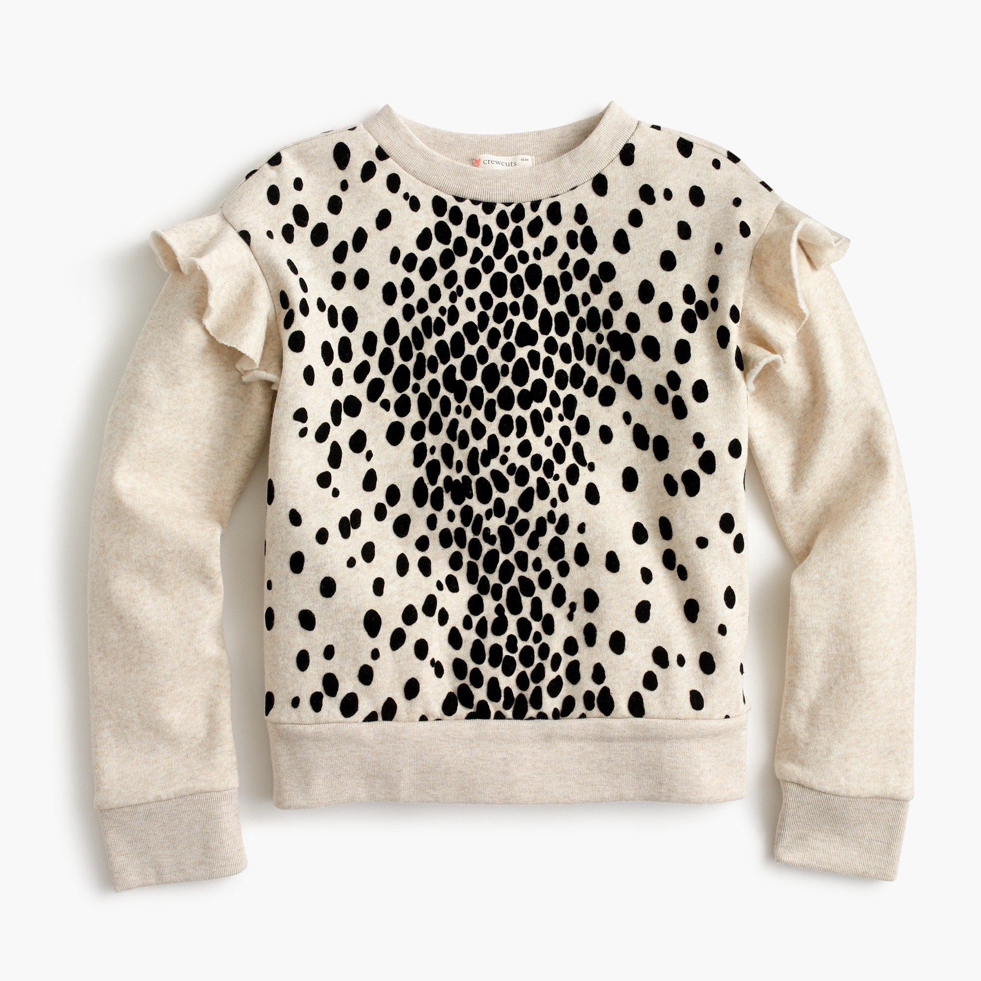 Girls' ruffle sweatshirt in leopard