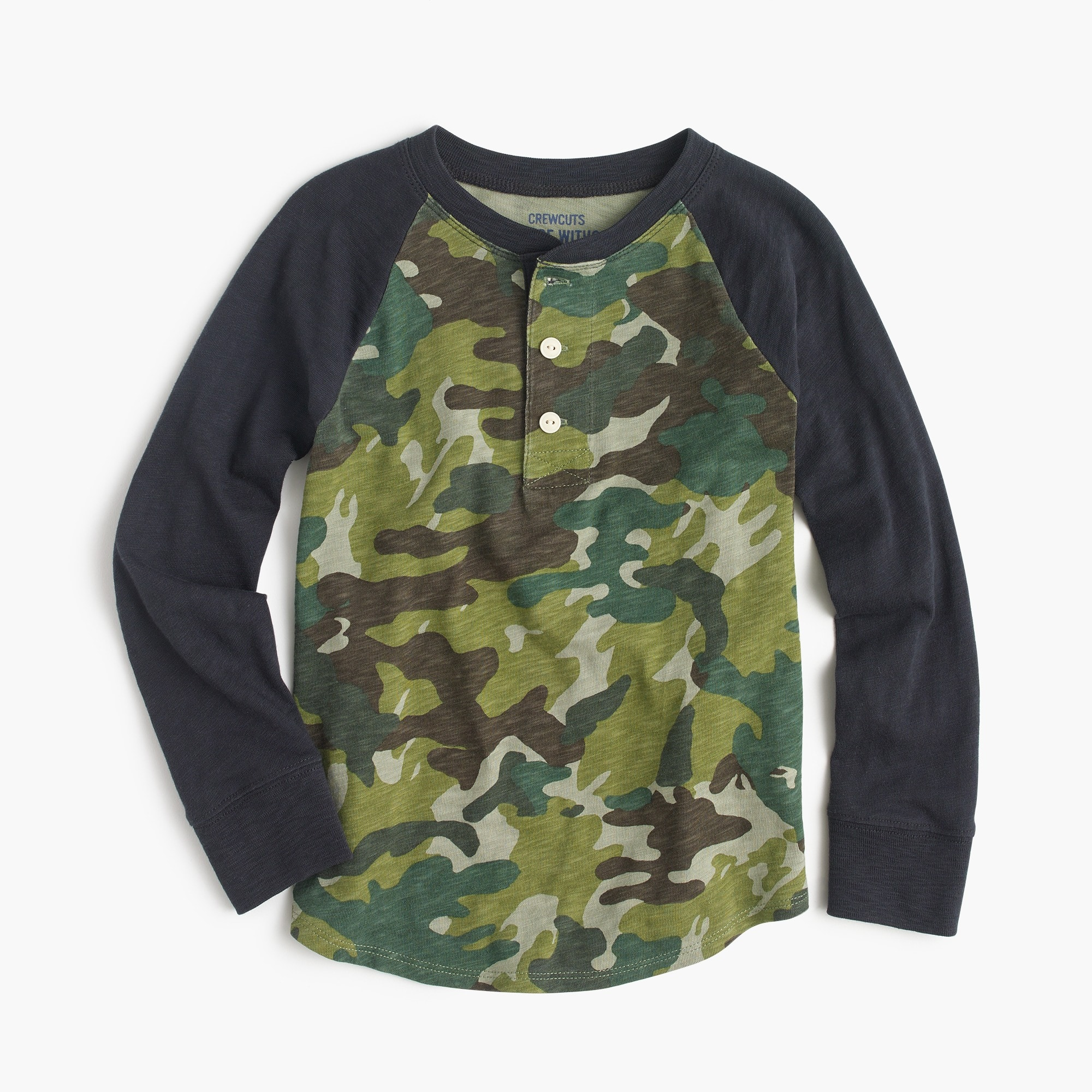 Boys' raglan-sleeve henley shirt in camo print