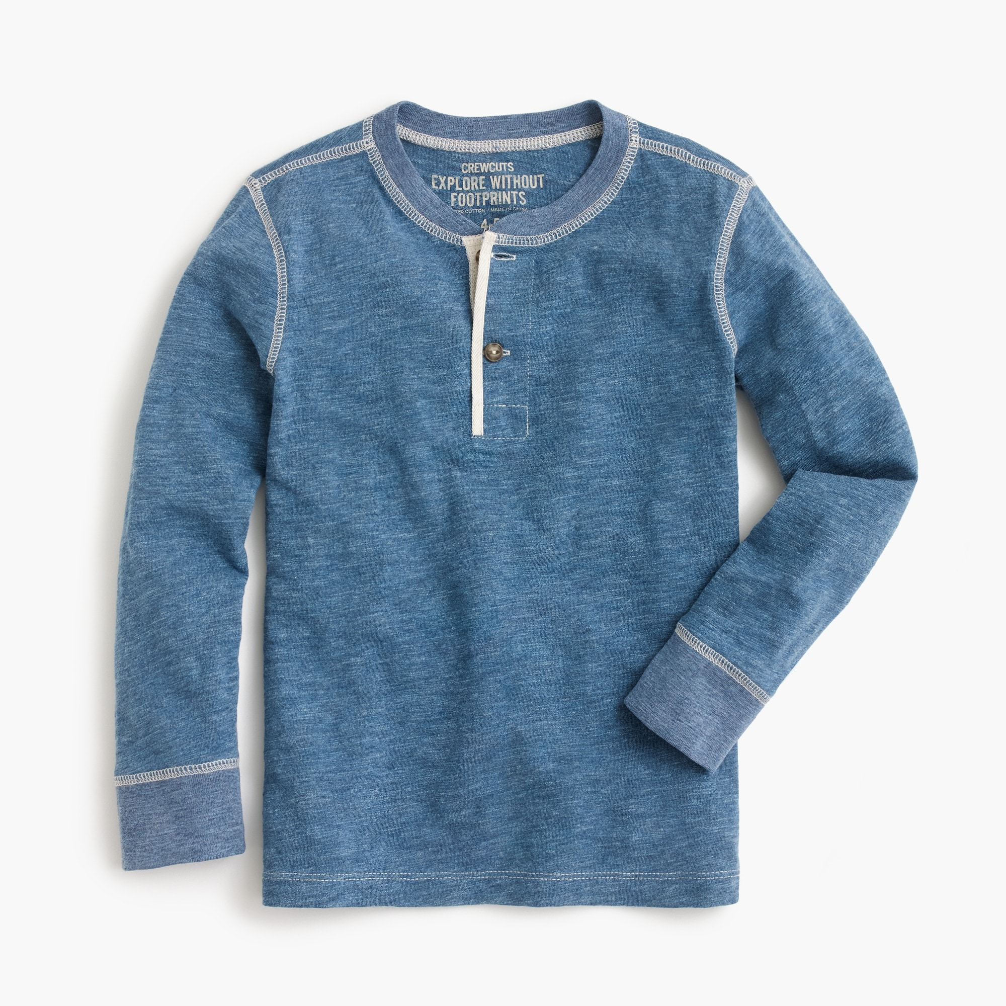 Boys' long-sleeve henley shirt in indigo