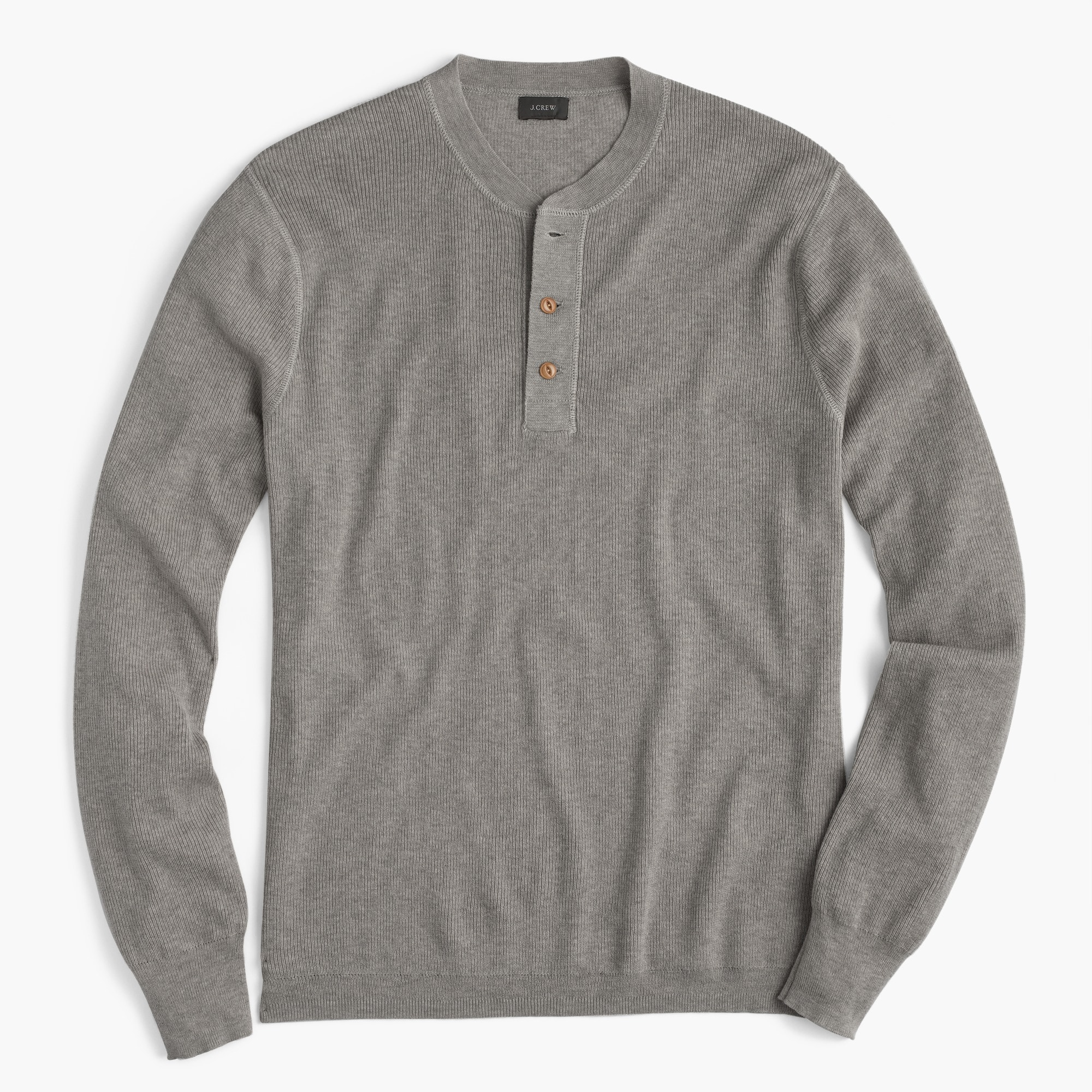 Wool-cotton henley sweater