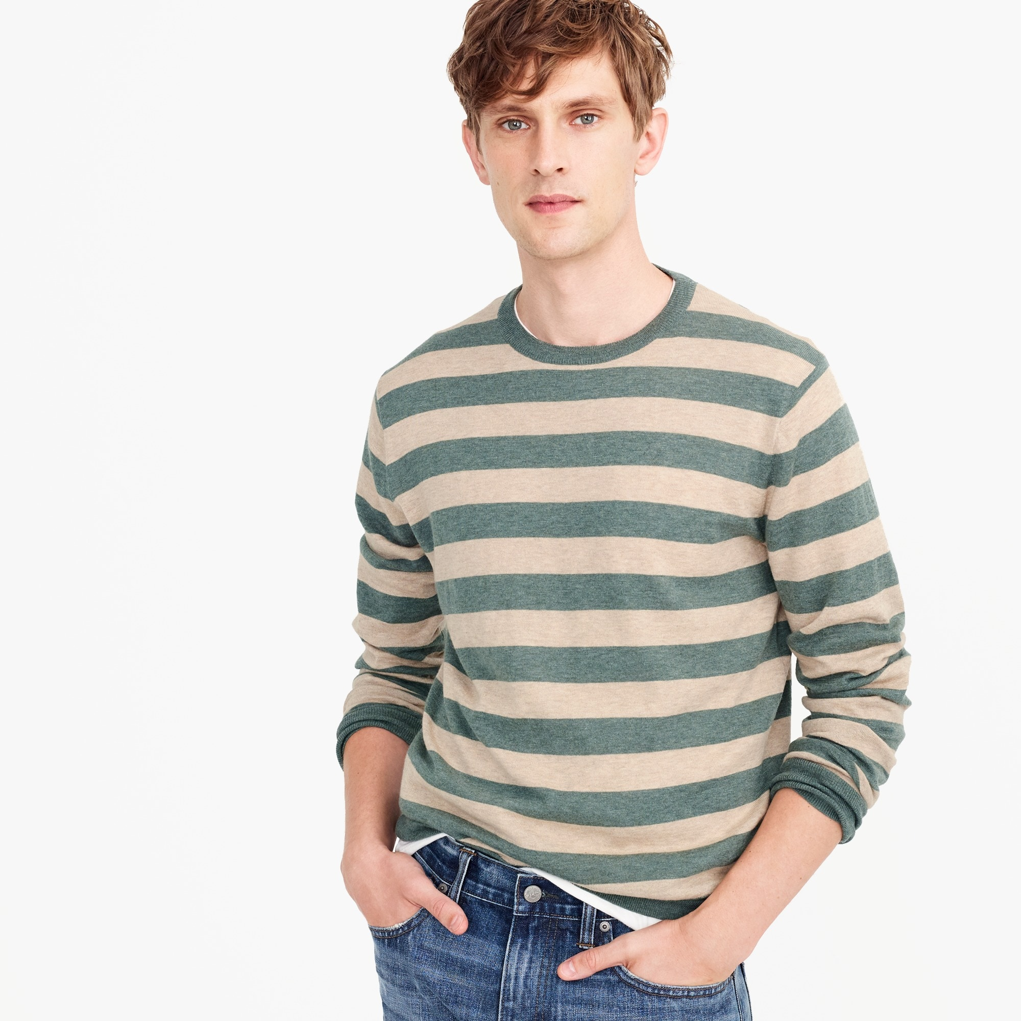 Wool-cotton crewneck sweater in wide stripe
