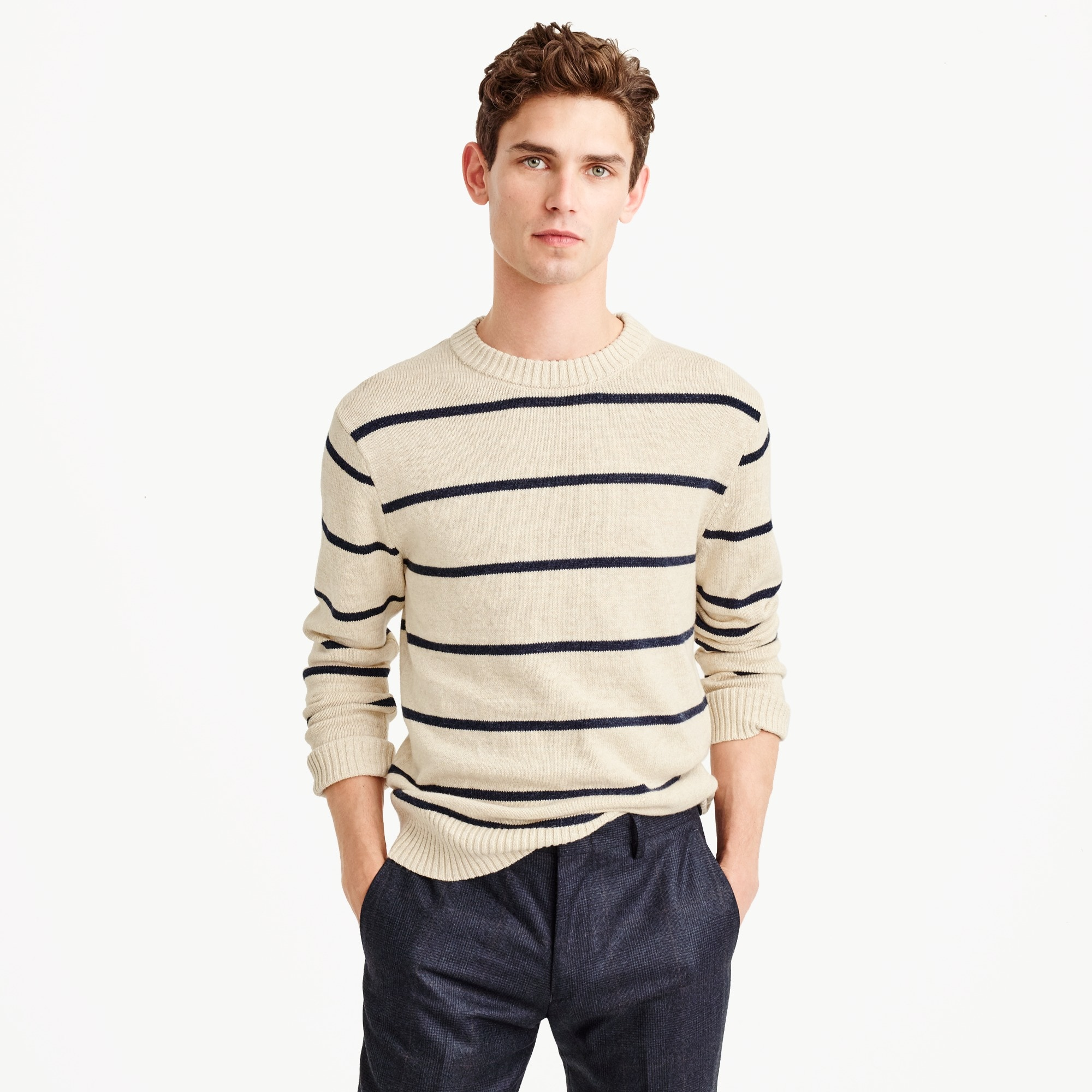 cotton-wool crewneck sweater in wide stripe : men cotton
