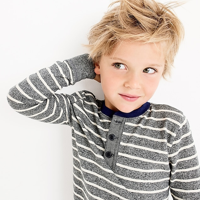 Boys' striped long-sleeve henley shirt