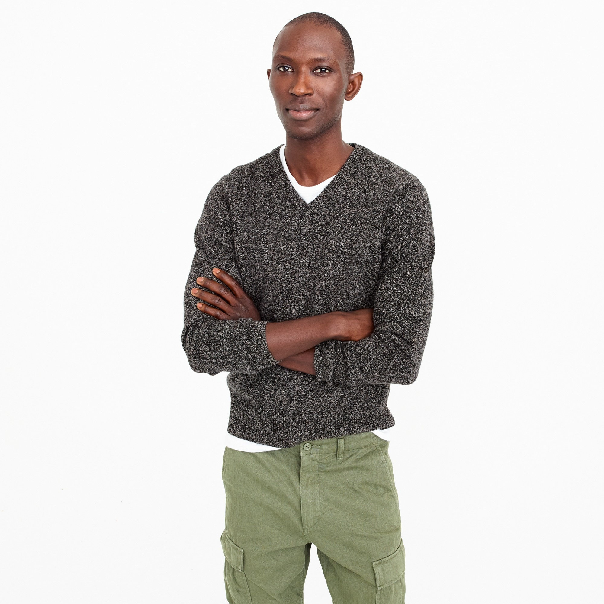 slim lambswool v-neck sweater : men sweaters