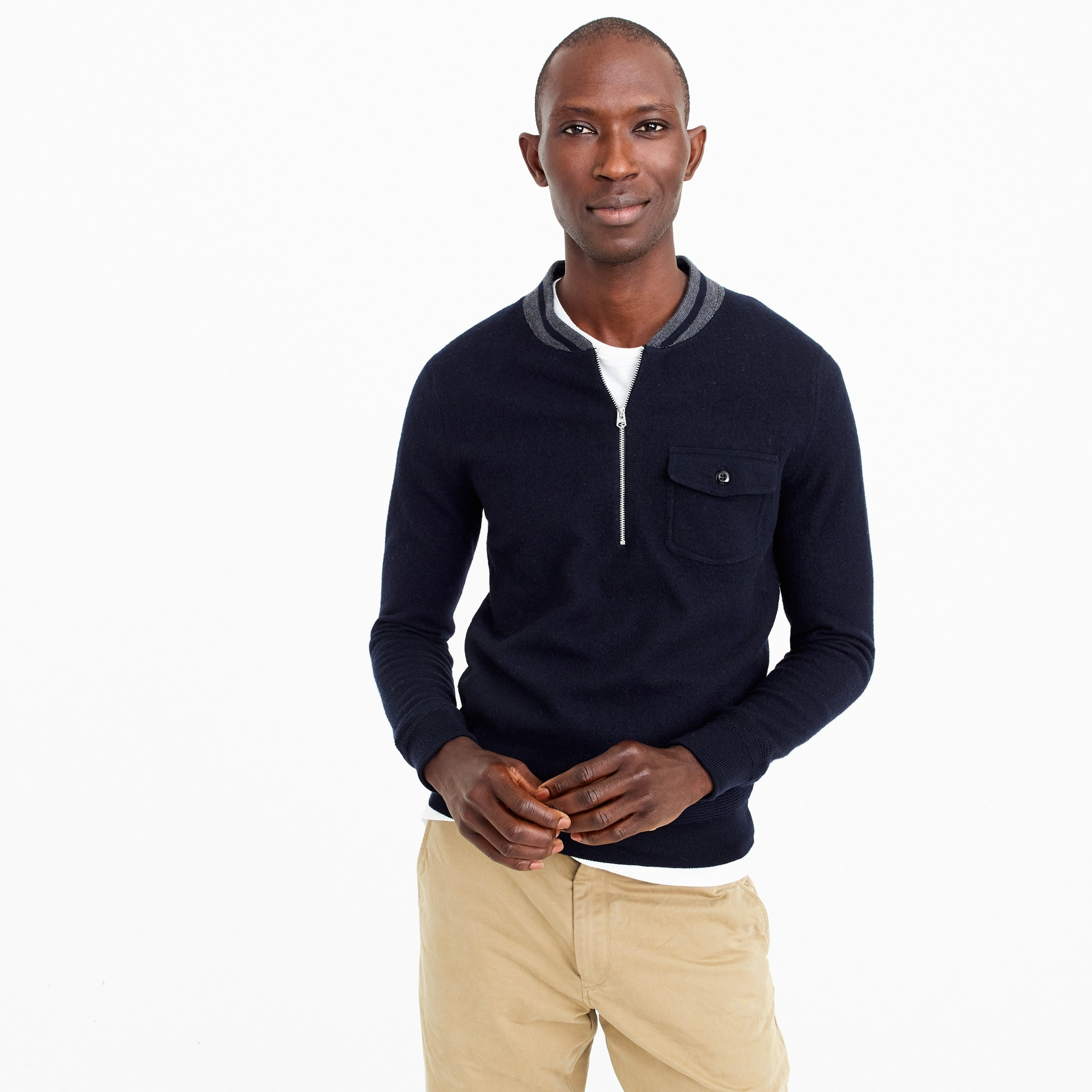 Wallace & Barnes half-zip sweater in colorblock merino wool