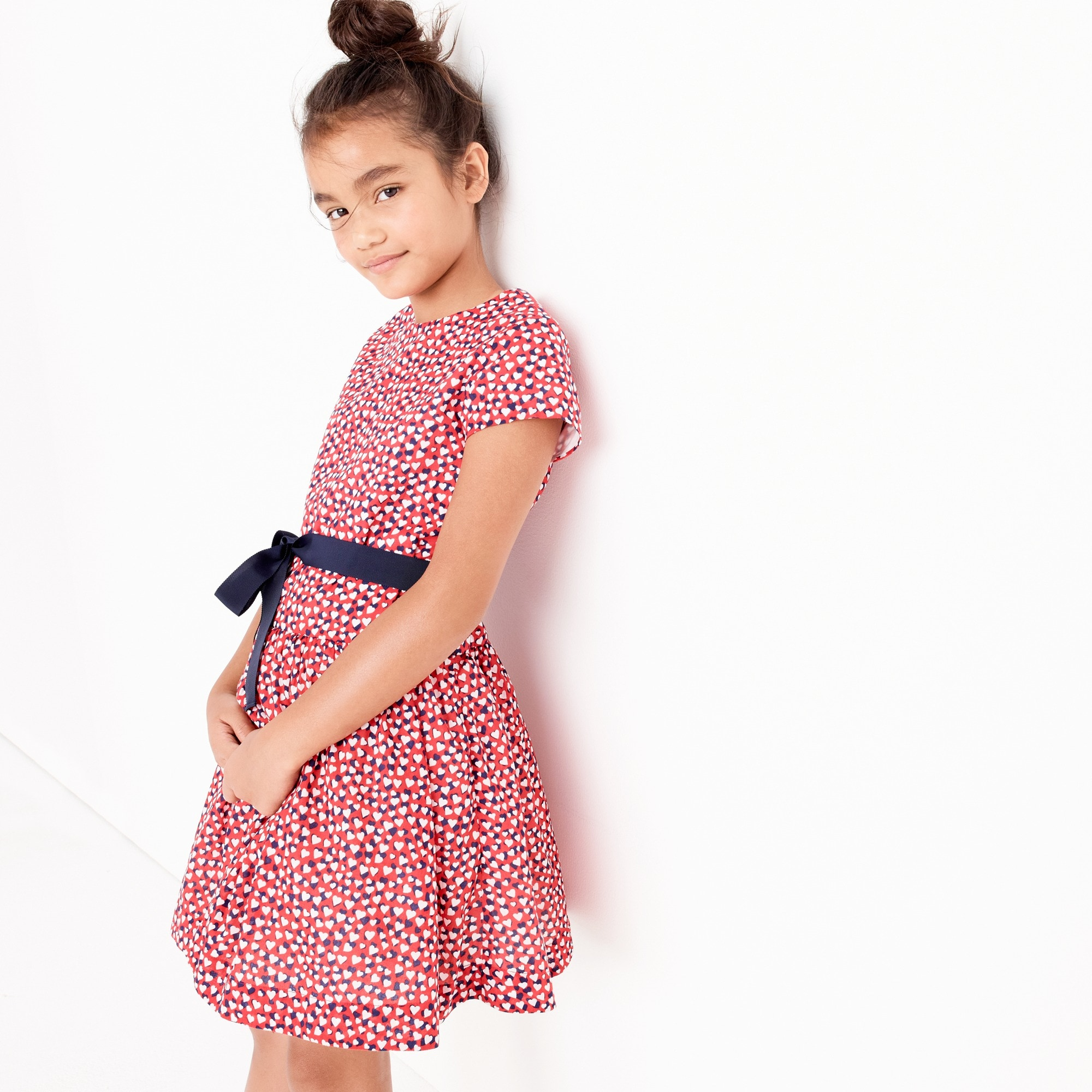 Girls' heart-print dress