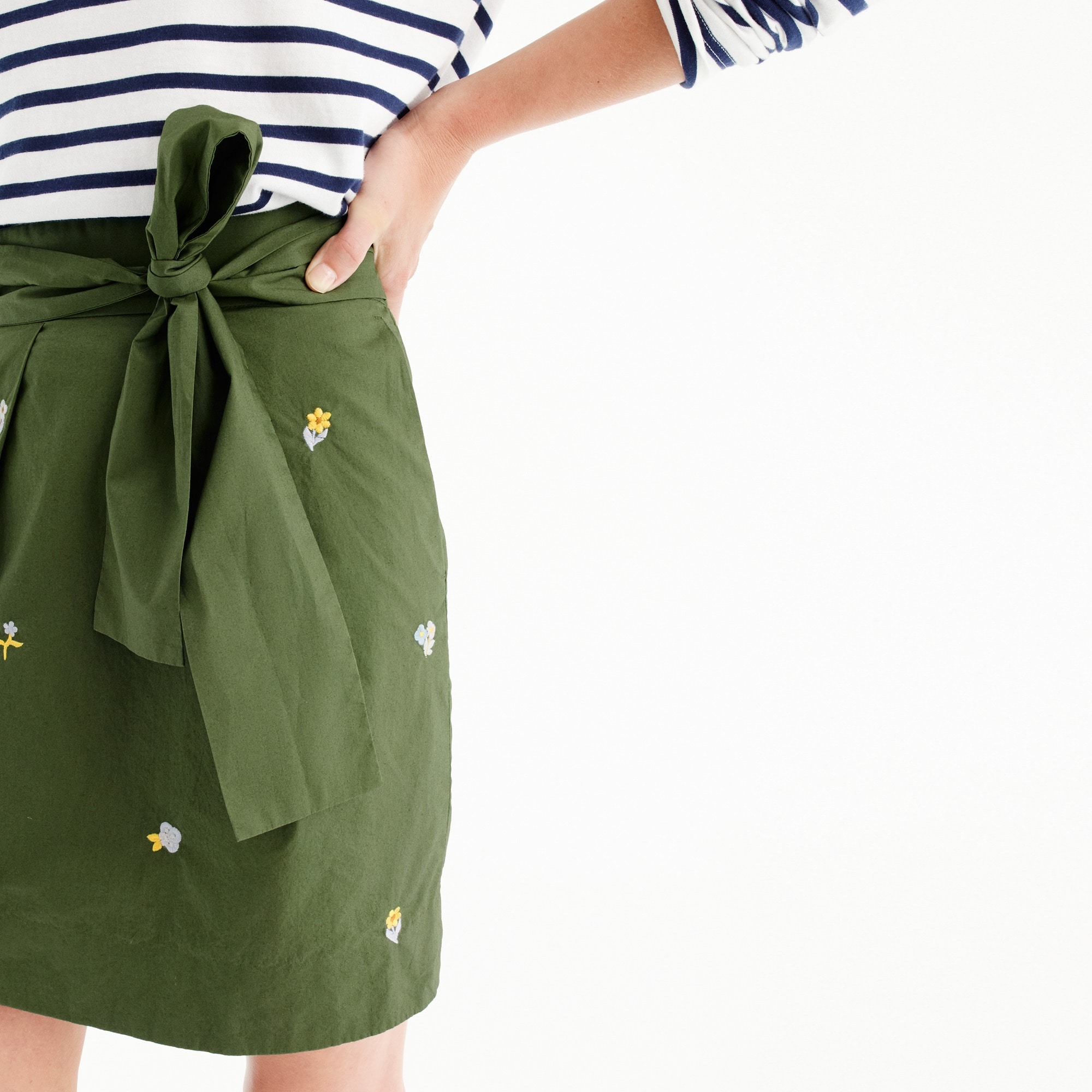 Image 2 for Petite floral embroidered tie-waist skirt