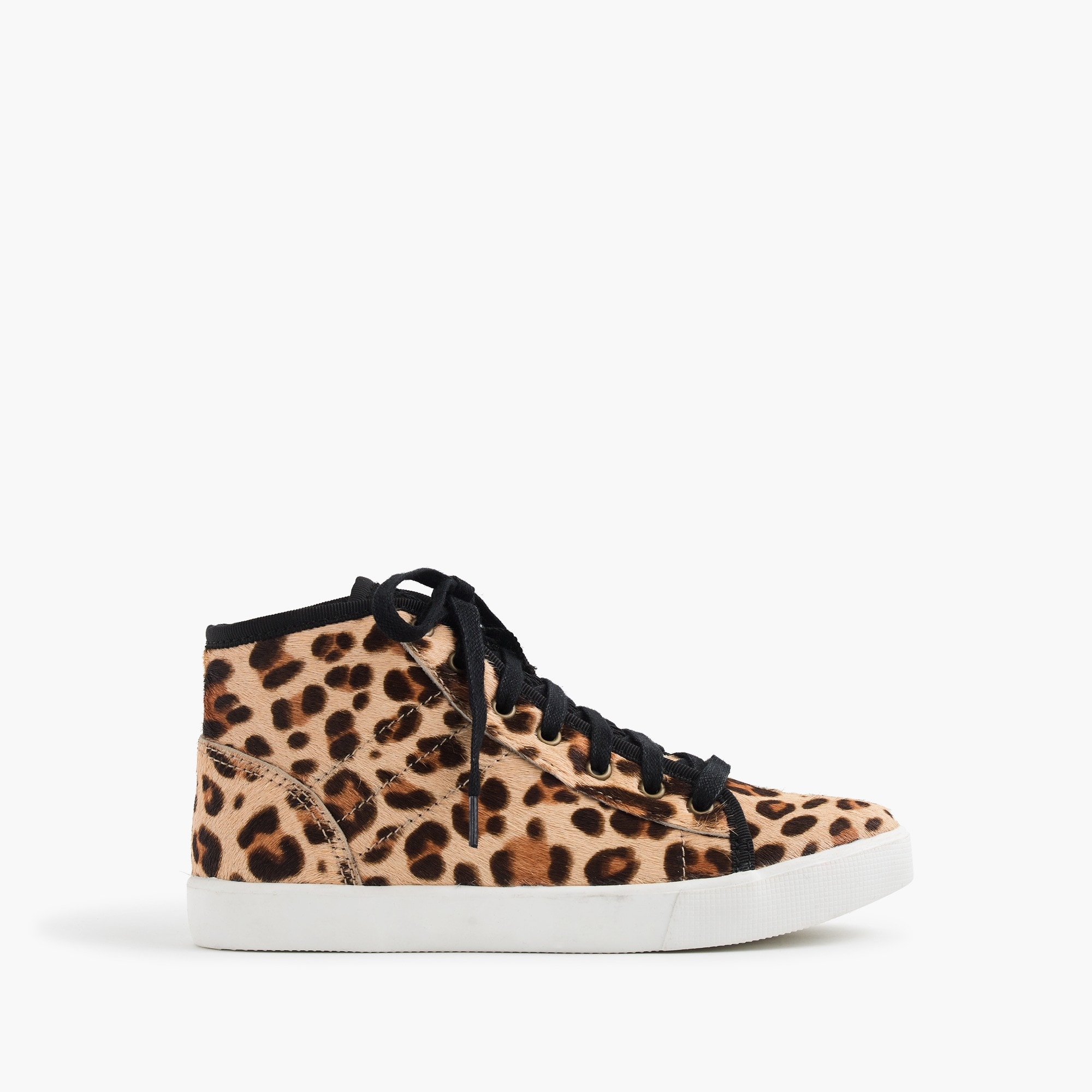 Girls' high-top sneakers in leopard-print pony hair girl shoes & sneakers c
