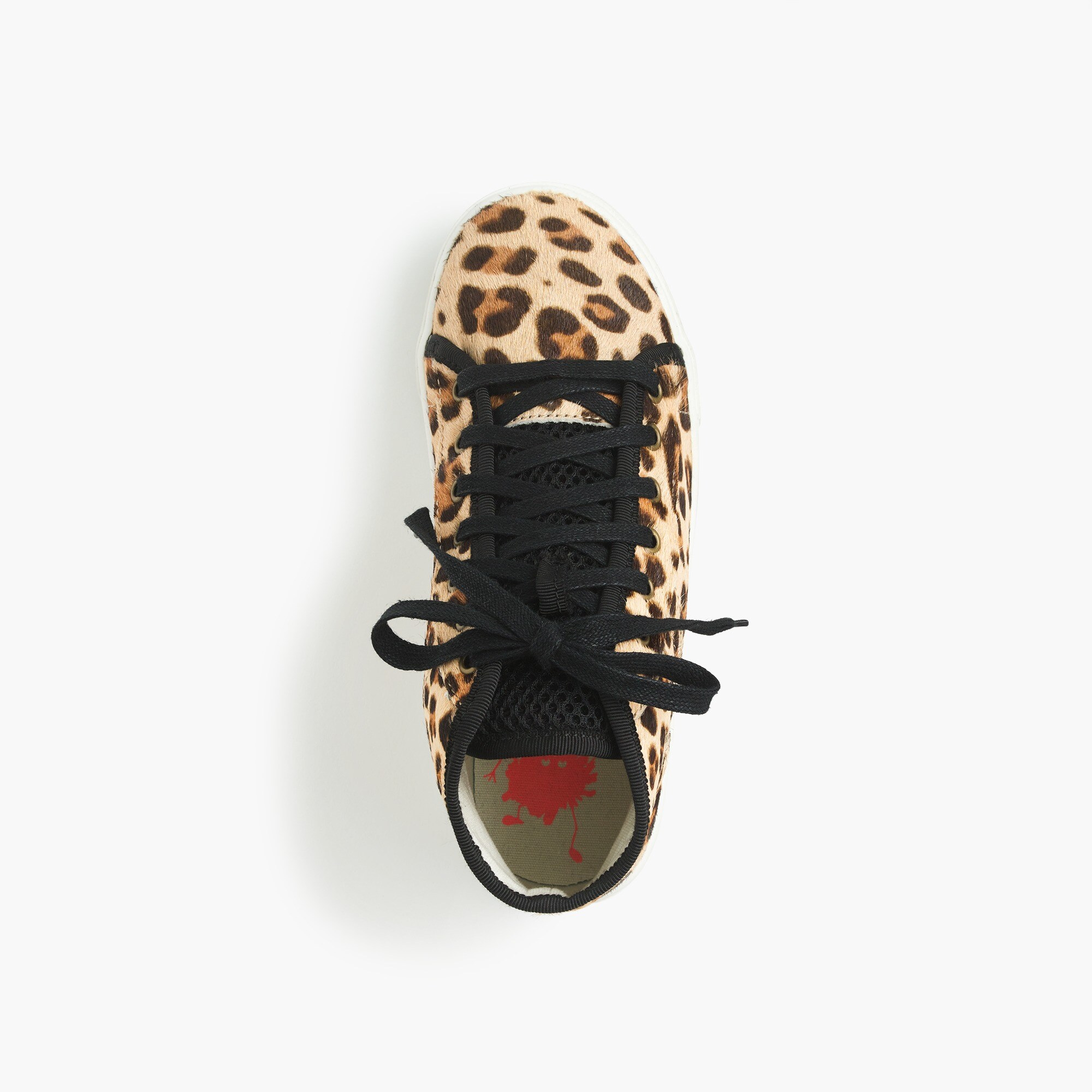Girls' high-top sneakers in leopard-print pony hair