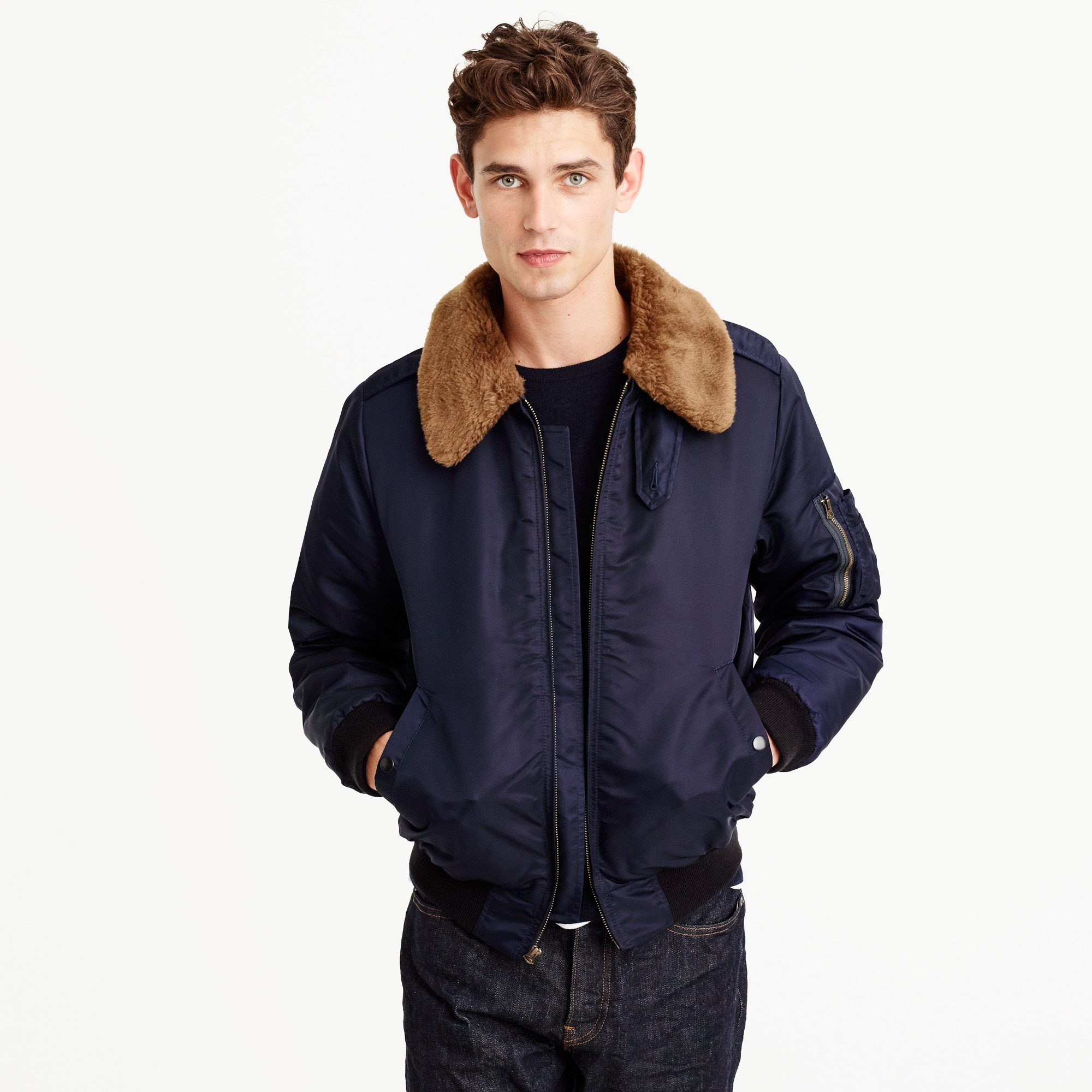 nylon-twill bomber jacket : men wallace & barnes