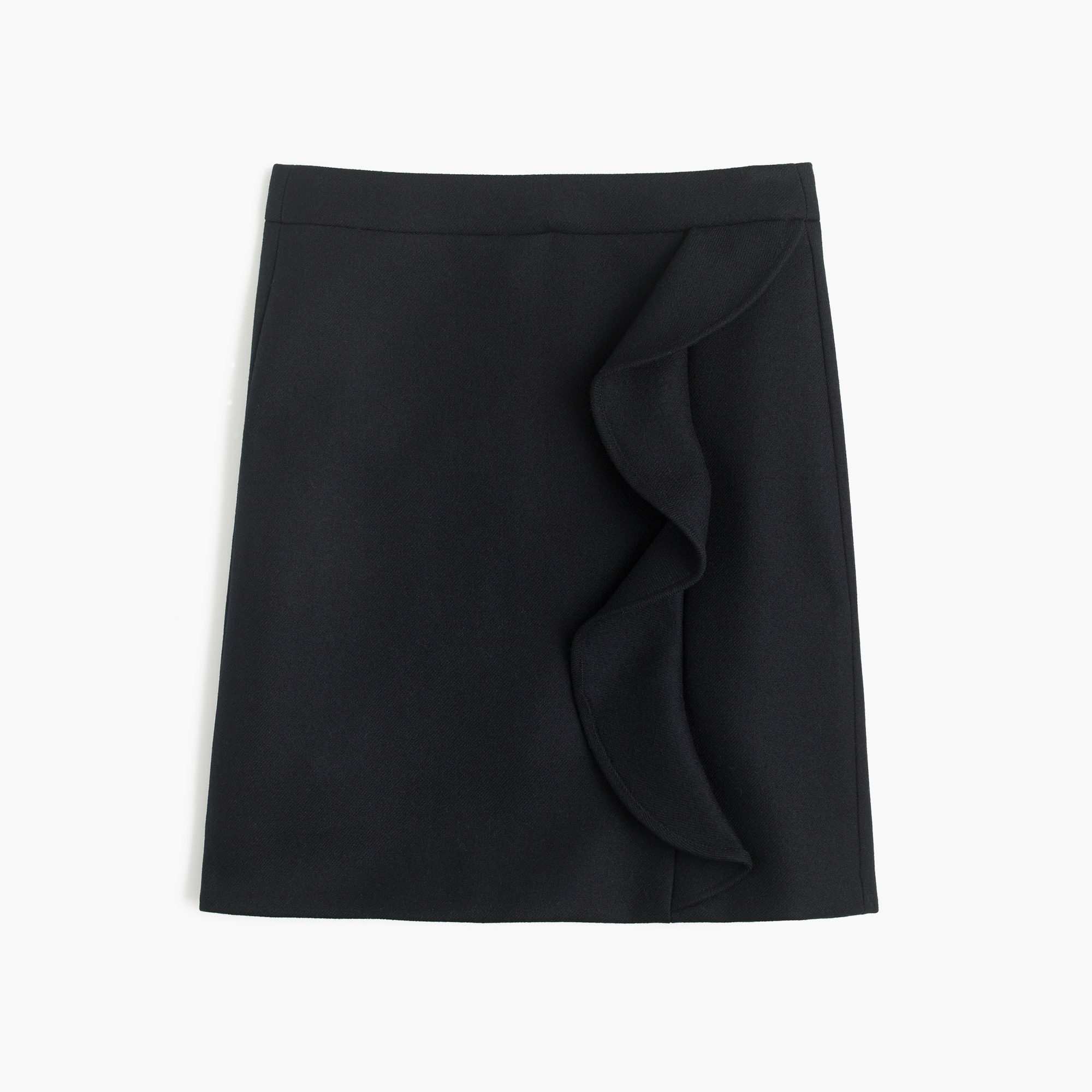 Image 3 for Petite ruffle mini skirt in double-serge wool