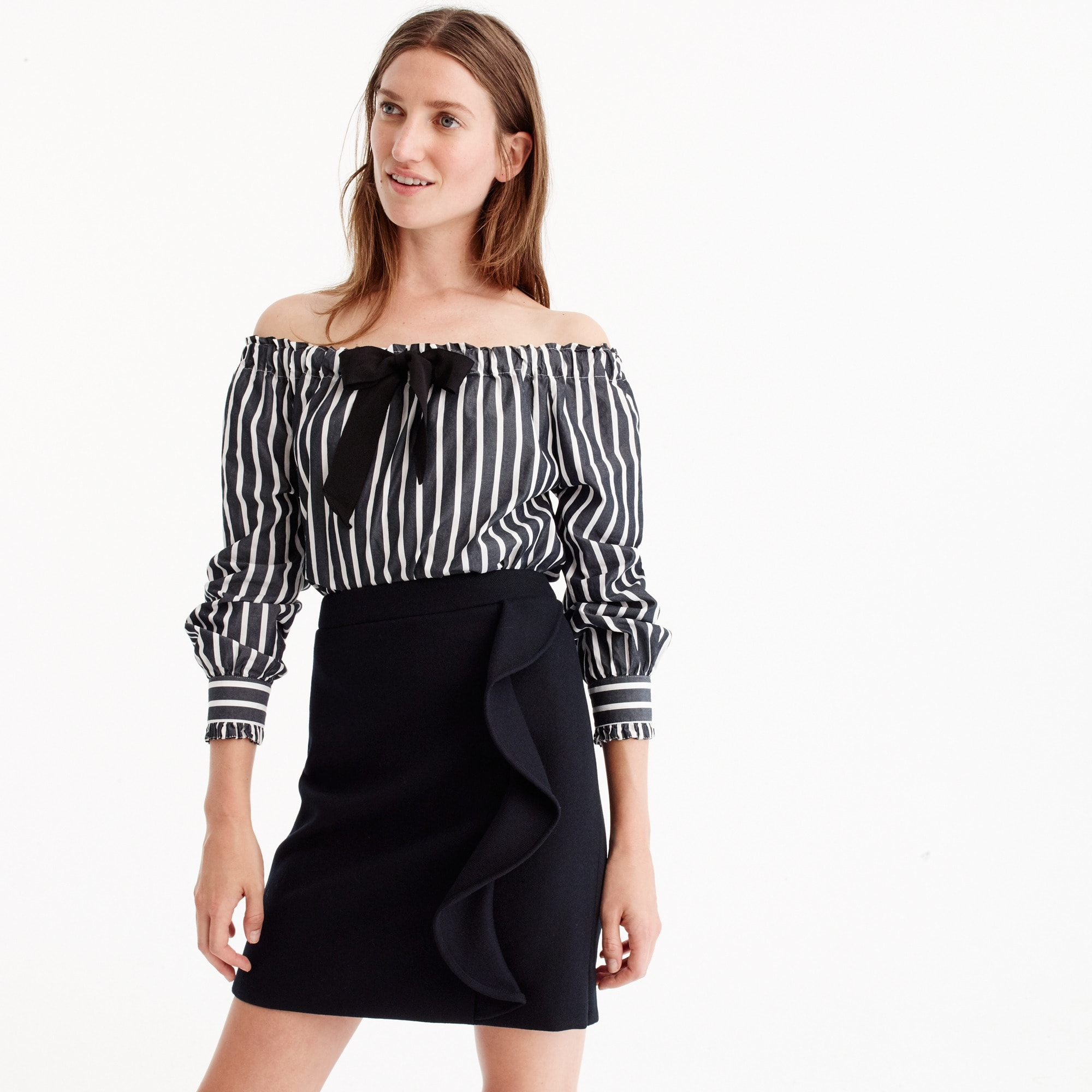 Petite ruffle mini skirt in double-serge wool