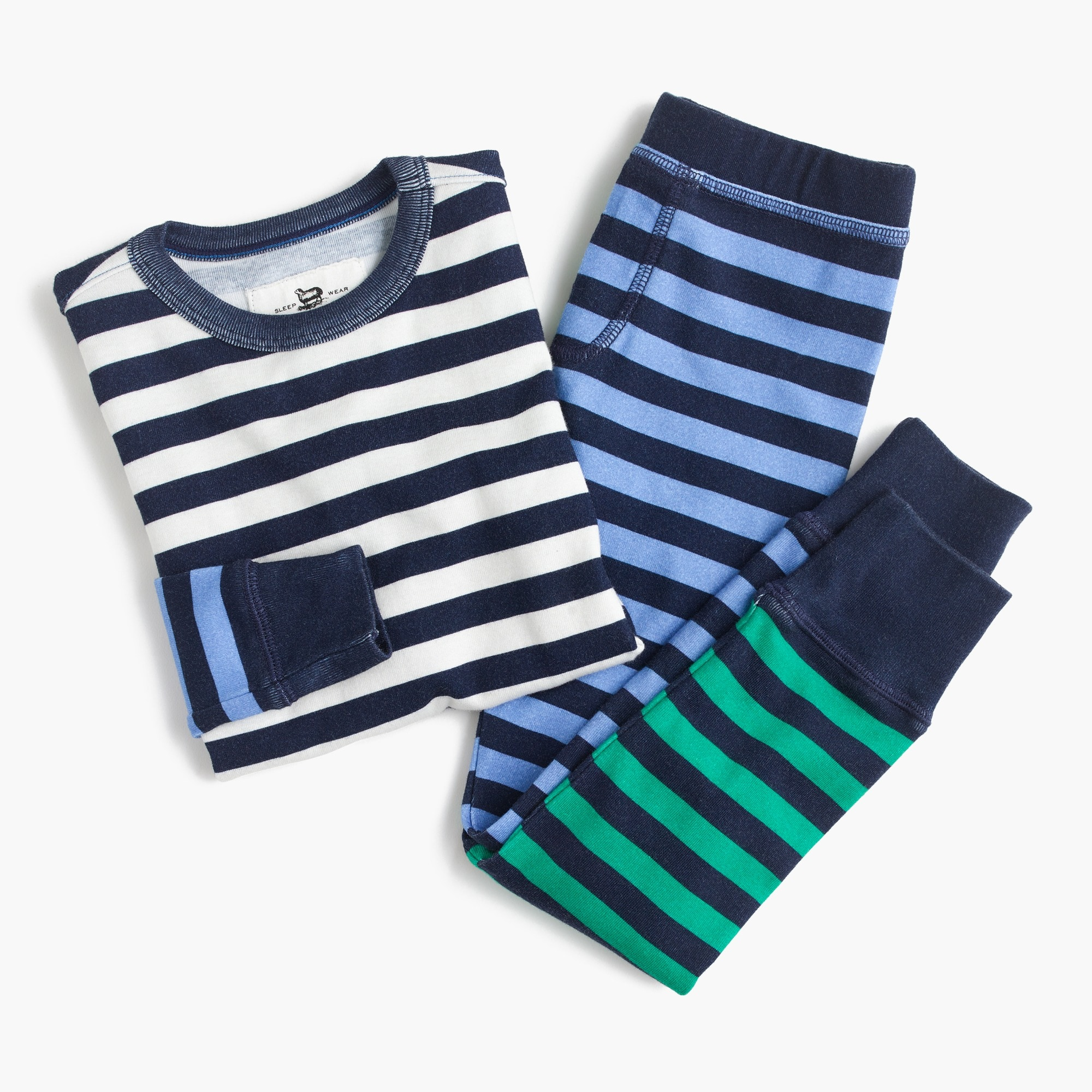 kids' pajama set in colorblocked stripes : girl sleep sets
