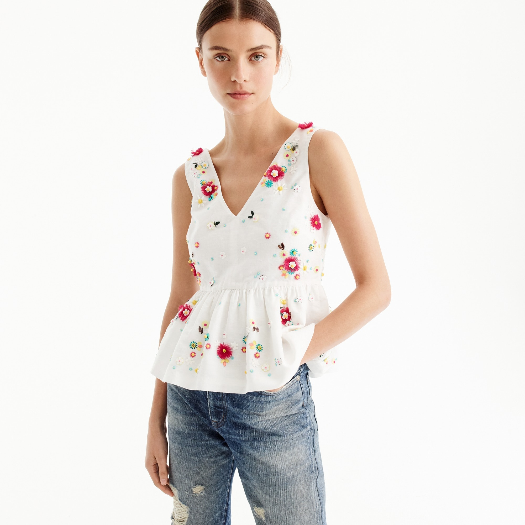 Hand-embellished floral top