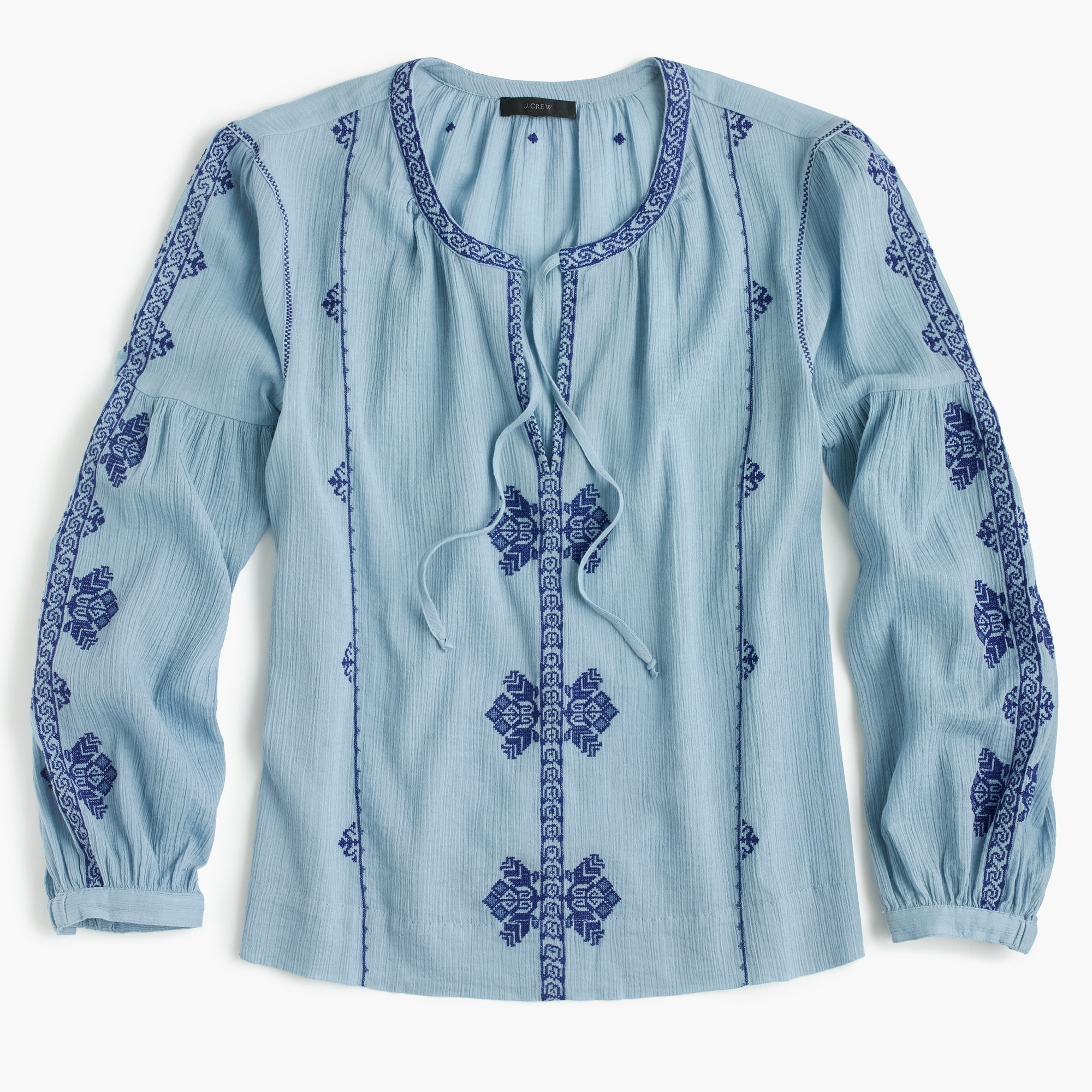 Petite embroidered peasant top