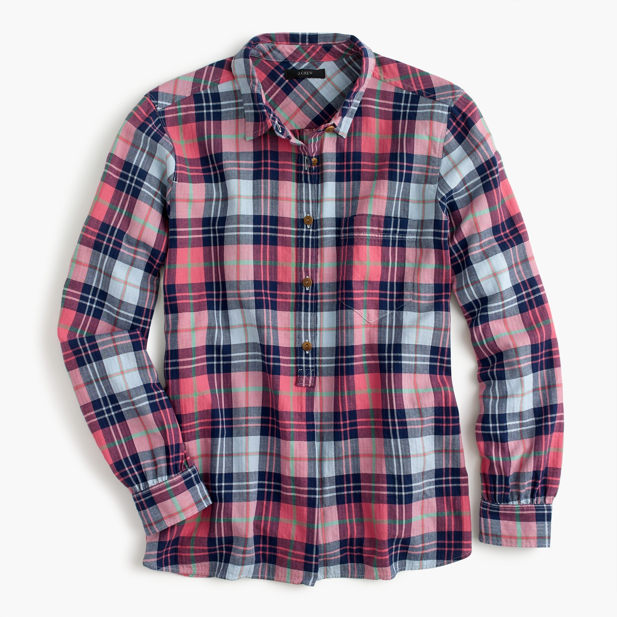 Tall classic popover shirt in smoky coral plaid