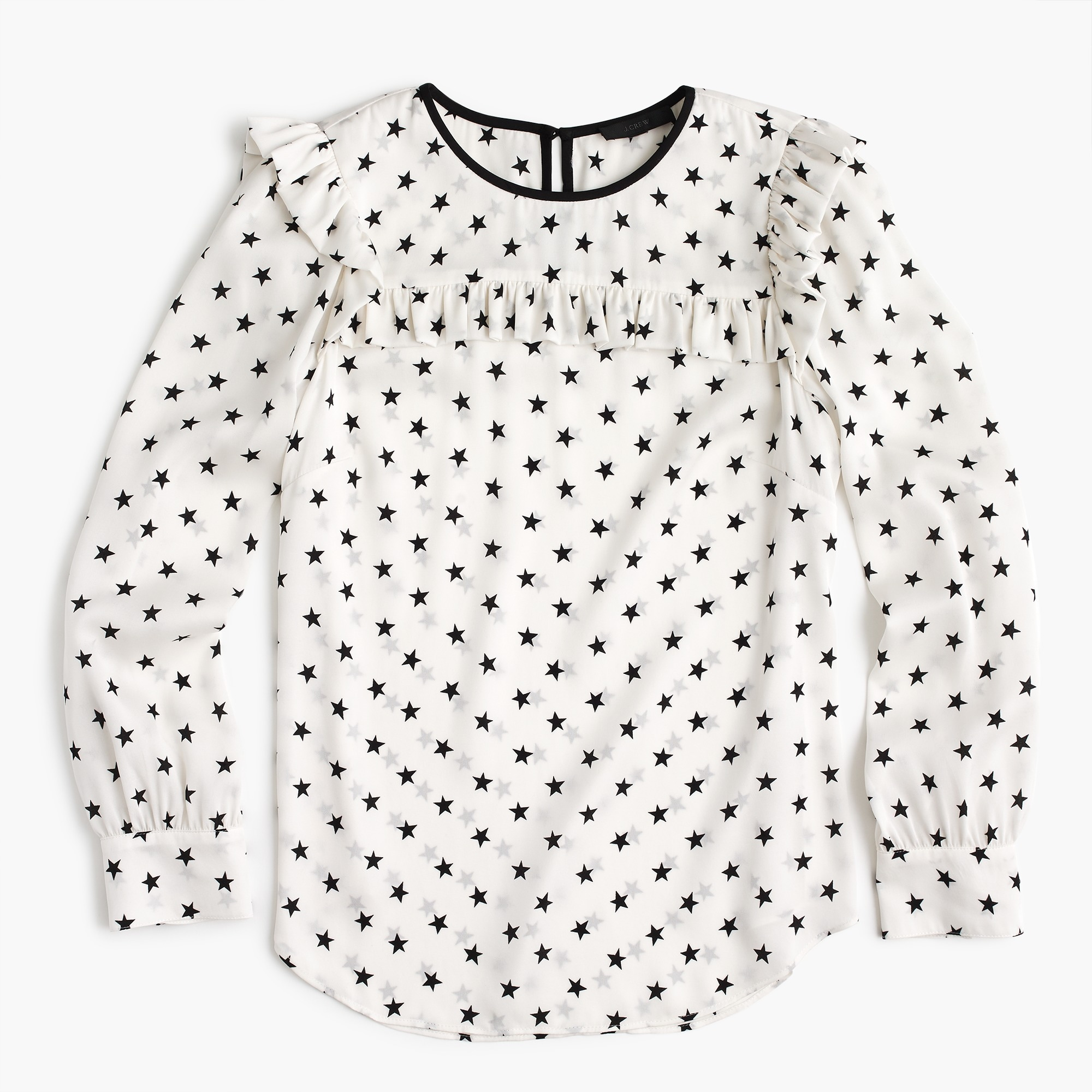 Ruffle silk top in star print