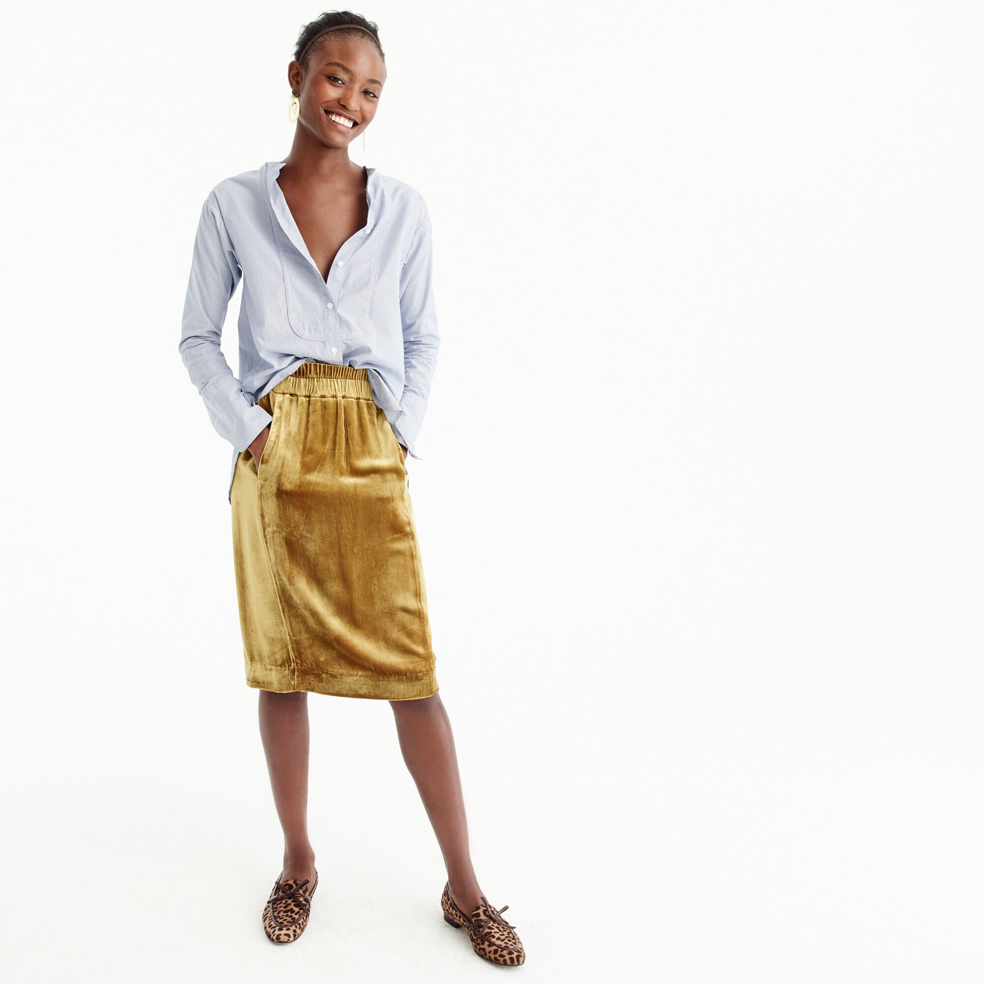 velvet pull-on skirt : women just in