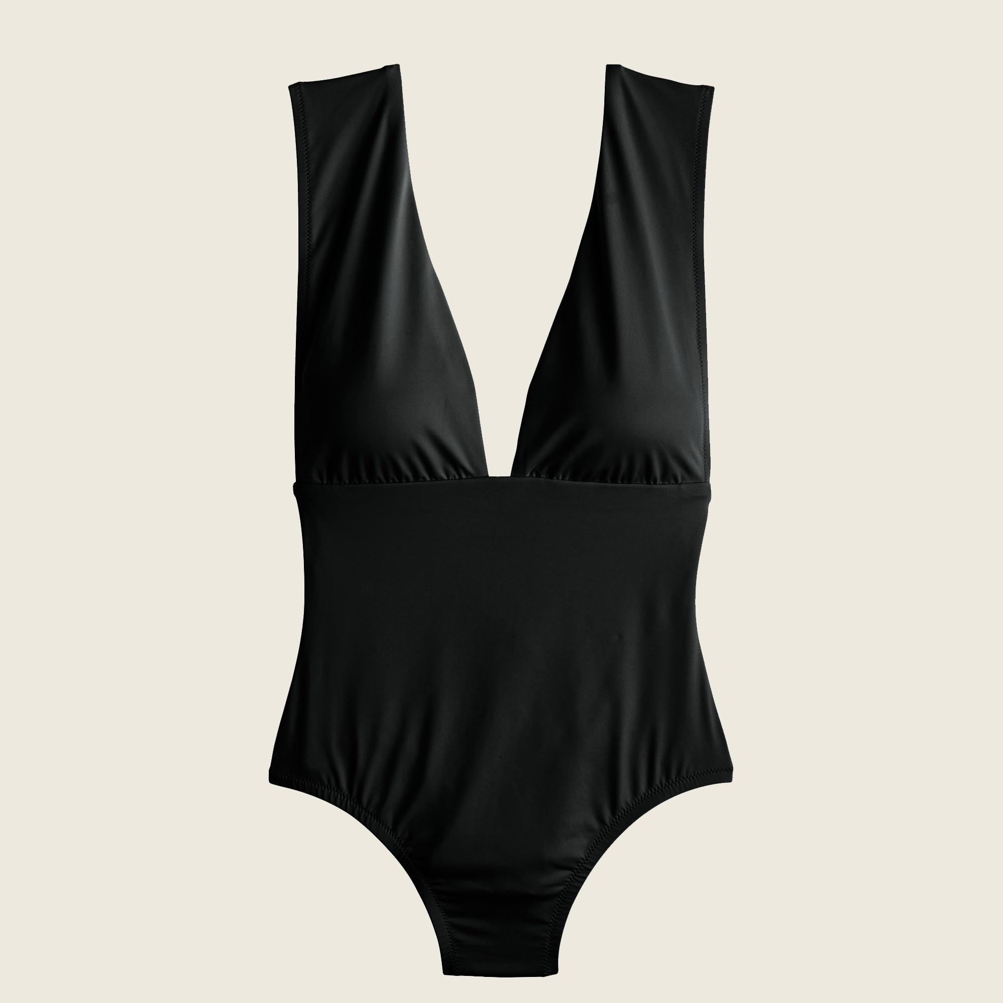 Plunge V-neck one-piece swimsuit