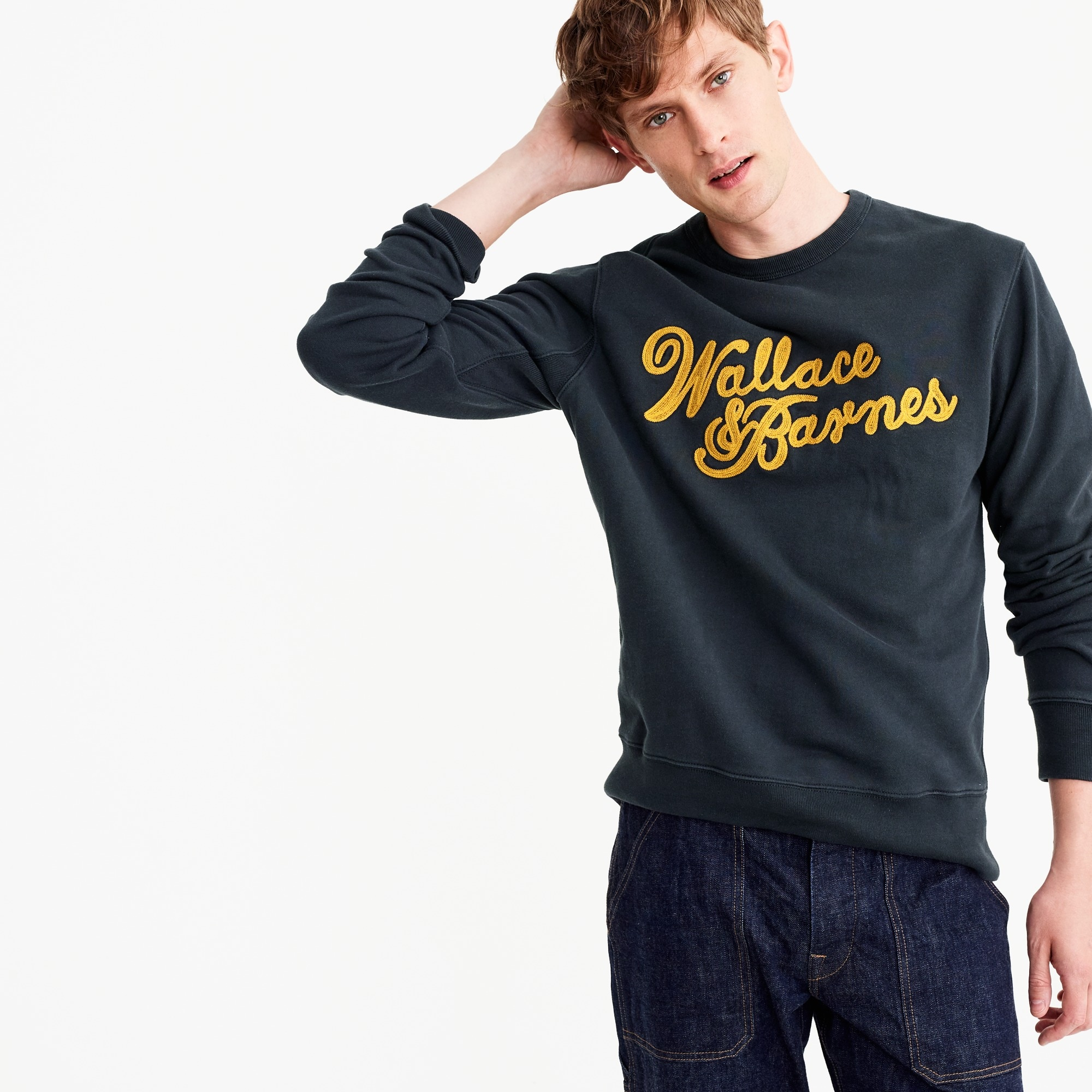 Image 1 for Wallace & Barnes crewneck sweatshirt with chain-stitch logo