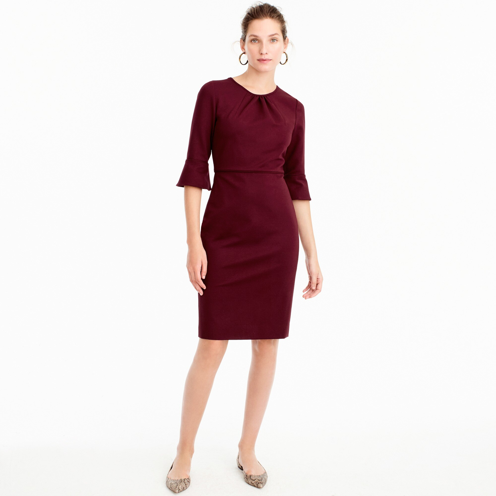 Petite bell-sleeve sheath in stretch ponte women suiting c