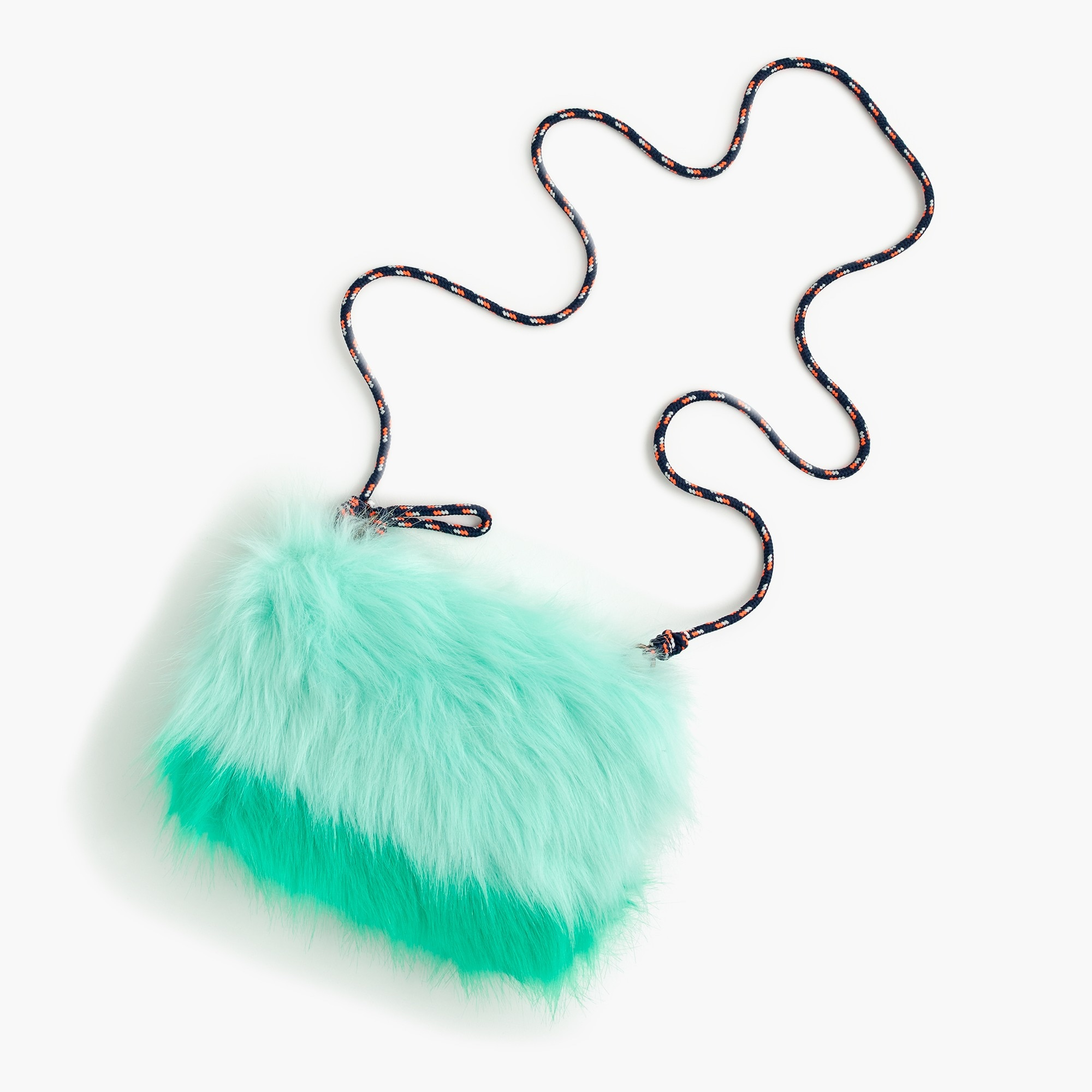 Girls' furry colorblock pouchette bag